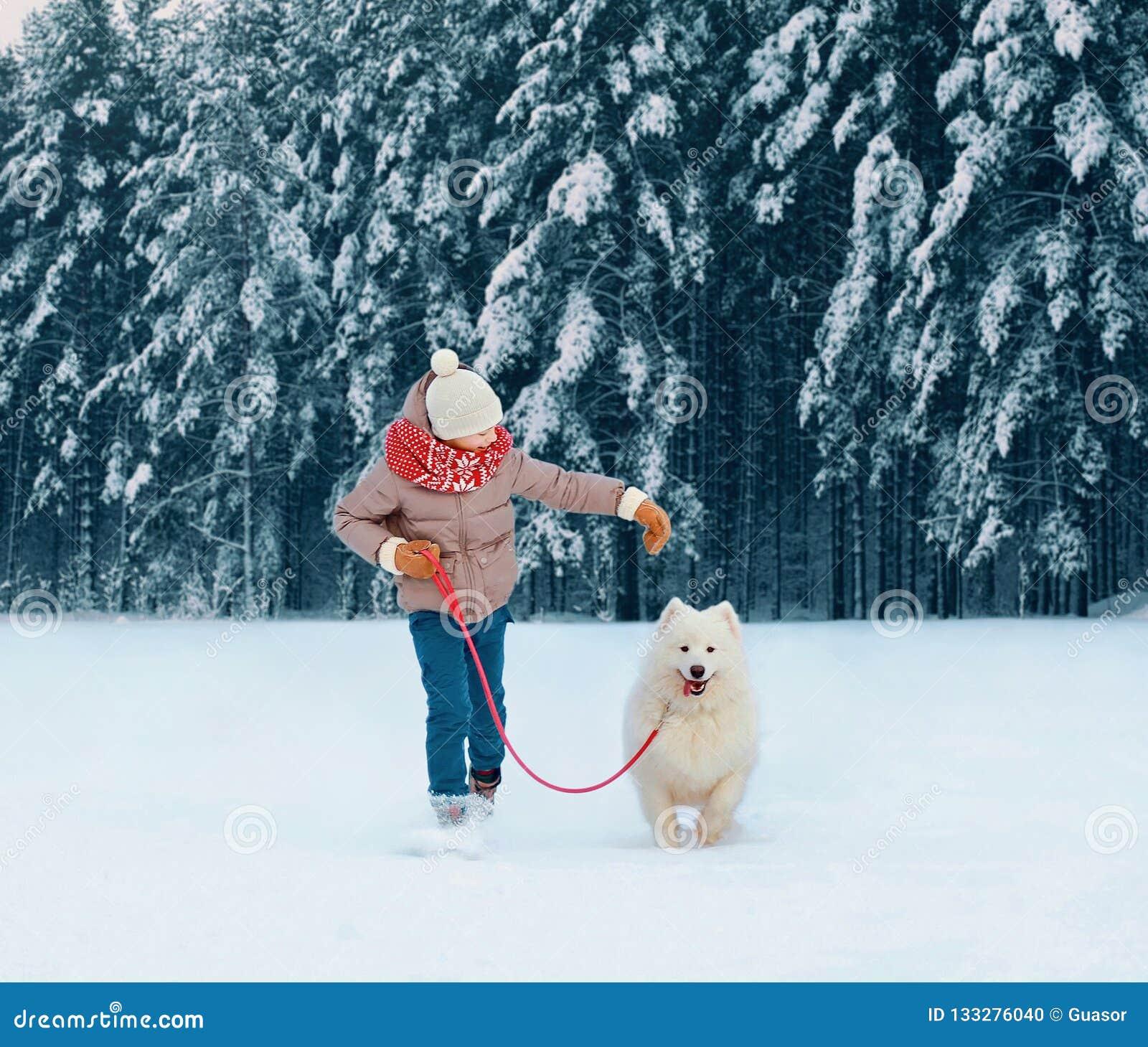 Szczęśliwy dziecko bieg z białym Samoyed psem, bawić się na zimie śnieżnej