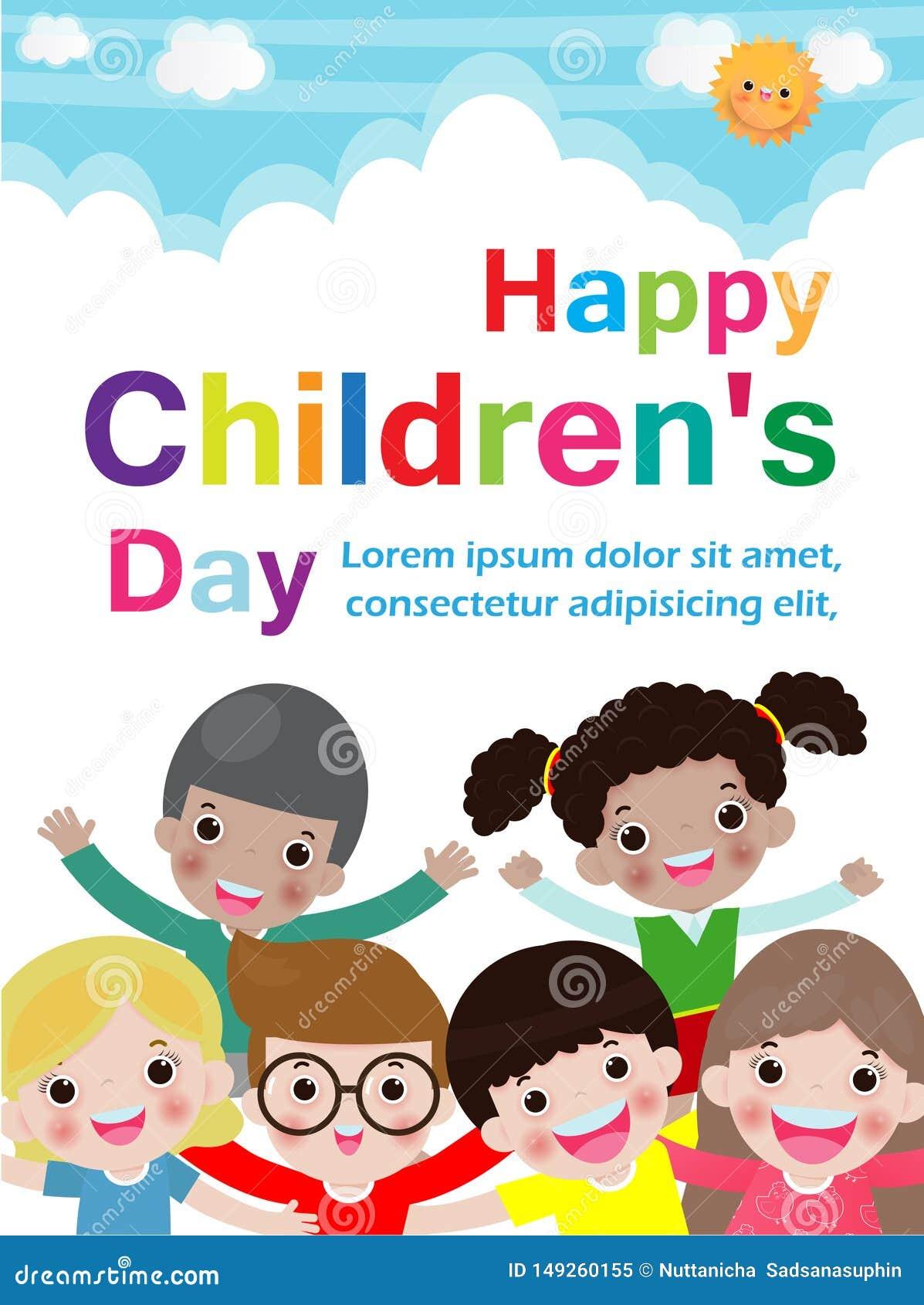 Szcz??liwy dziecko dnia t?o, szablon dla reklamowej broszurki, tekst, dzieciaki i ramowa wektorowa ilustracja, tw?j,