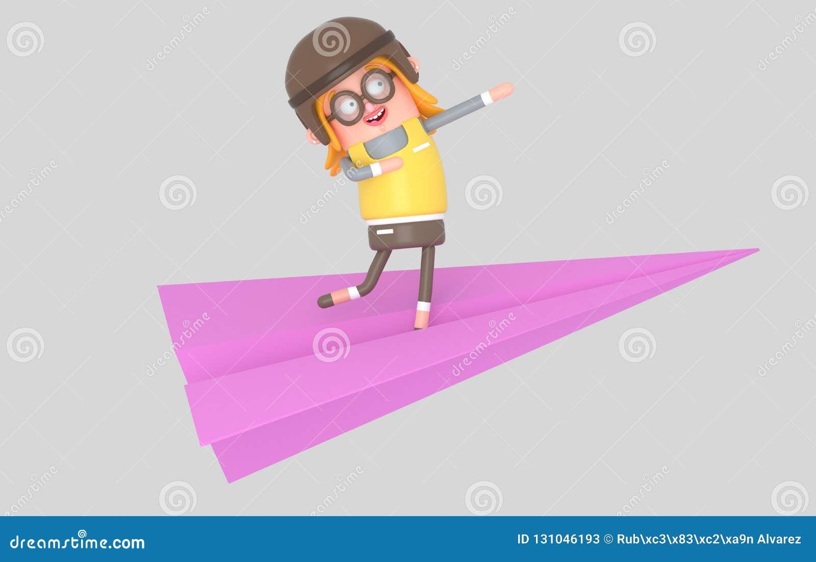 Szczęśliwy dziewczyny latanie w papierowym samolocie ilustracja 3 d