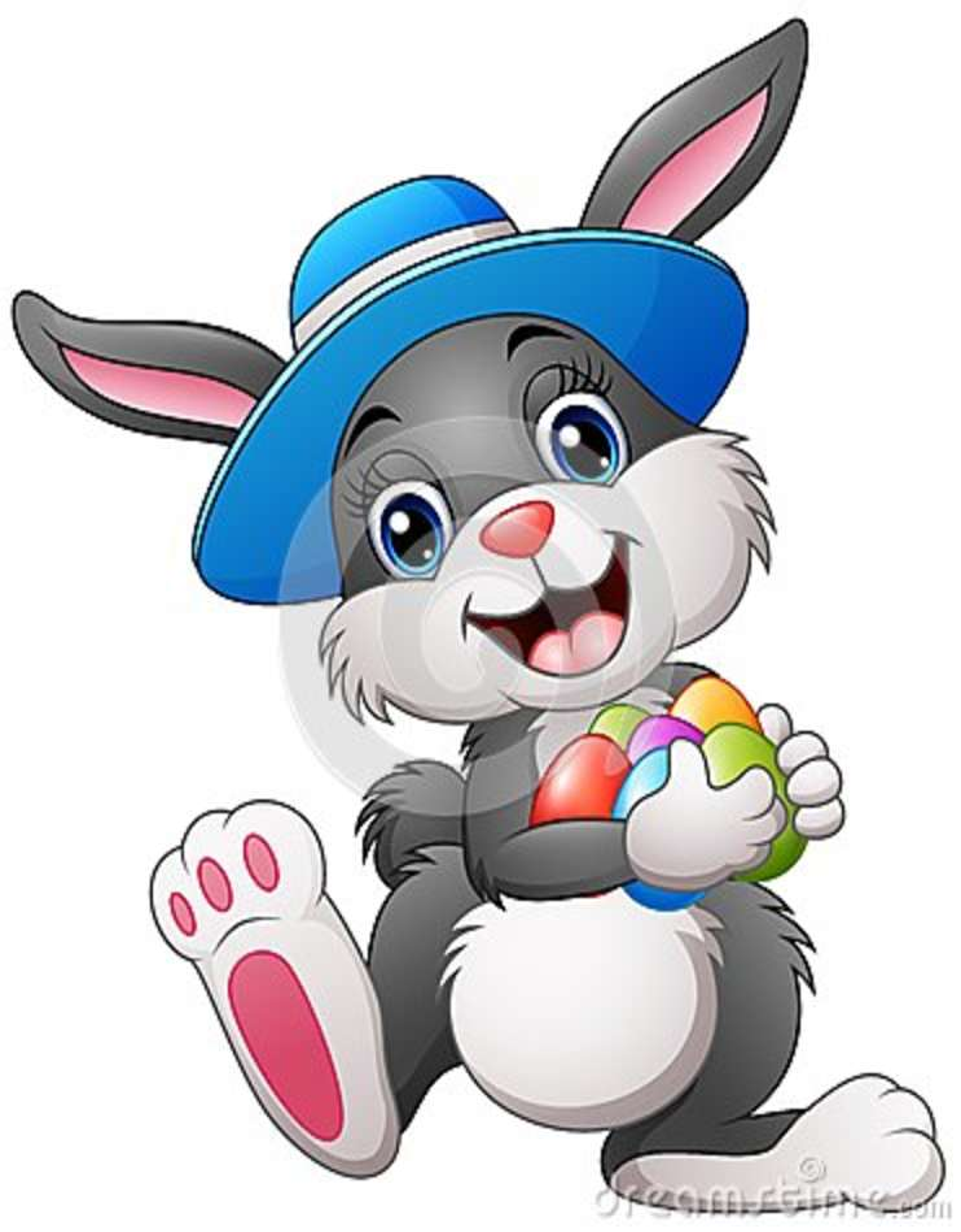 Szczęśliwy Easter królik jest ubranym kapeluszu przewożenia jajka