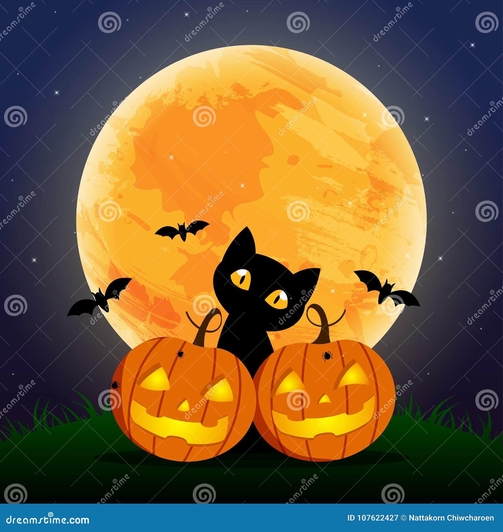 Szczęśliwy Halloweenowy dzień, nietoperz, pająk, Ślicznego dyniowego uśmiechu straszny, śliczny i czarny kota straszny przyjęcie