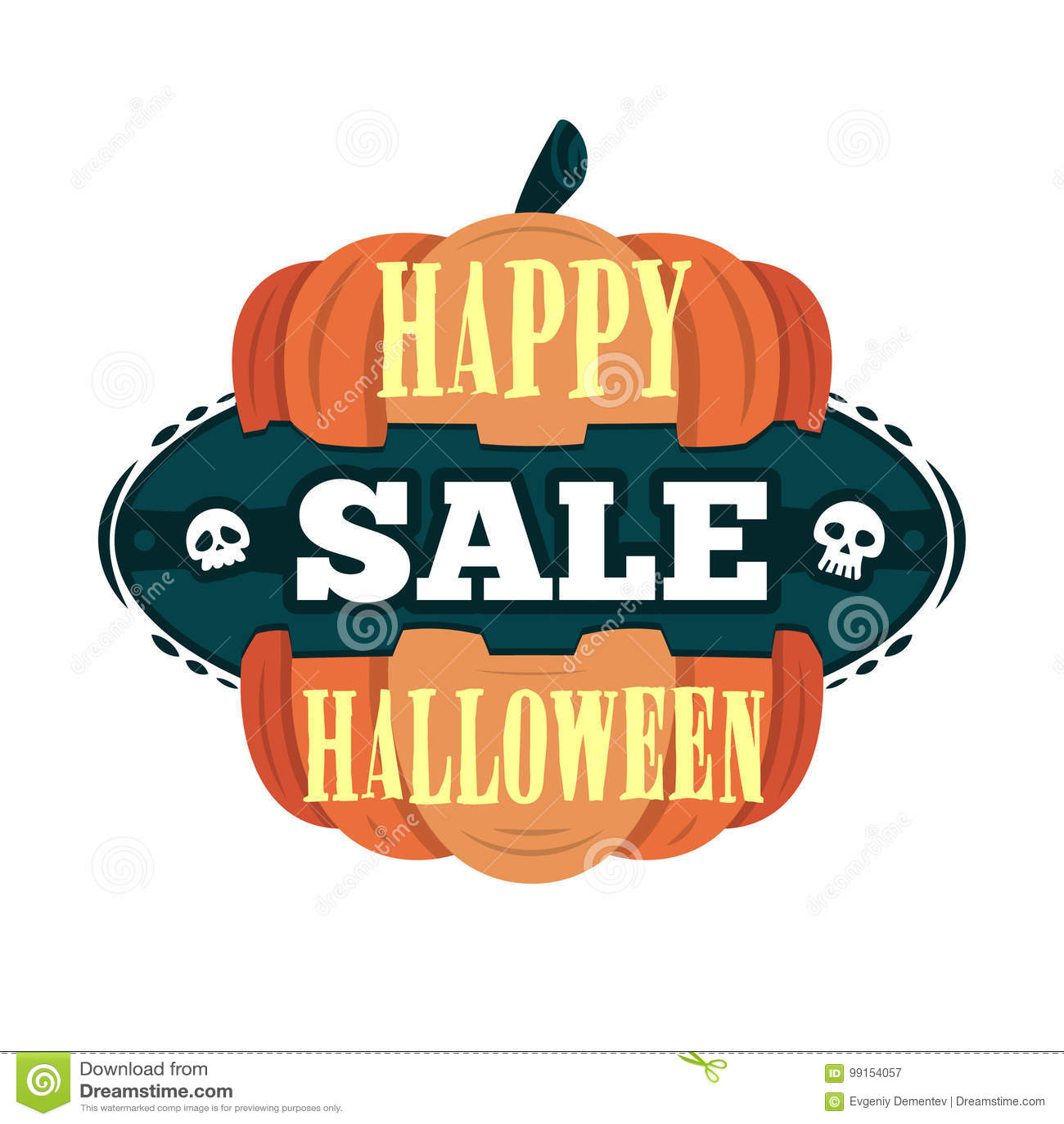 Szczęśliwy Halloweenowy sprzedaży oferty projekta szablon Wektorowa ilustracja z oddzieloną banią i tytułem button ręce s push od