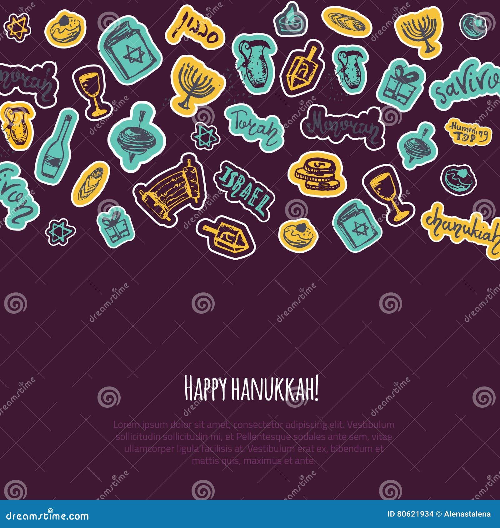 Szczęśliwy Hanukkah kartka z pozdrowieniami z ręka rysującymi elementami i literowanie na ciemnym tle Menorah, Dreidel, świeczka,