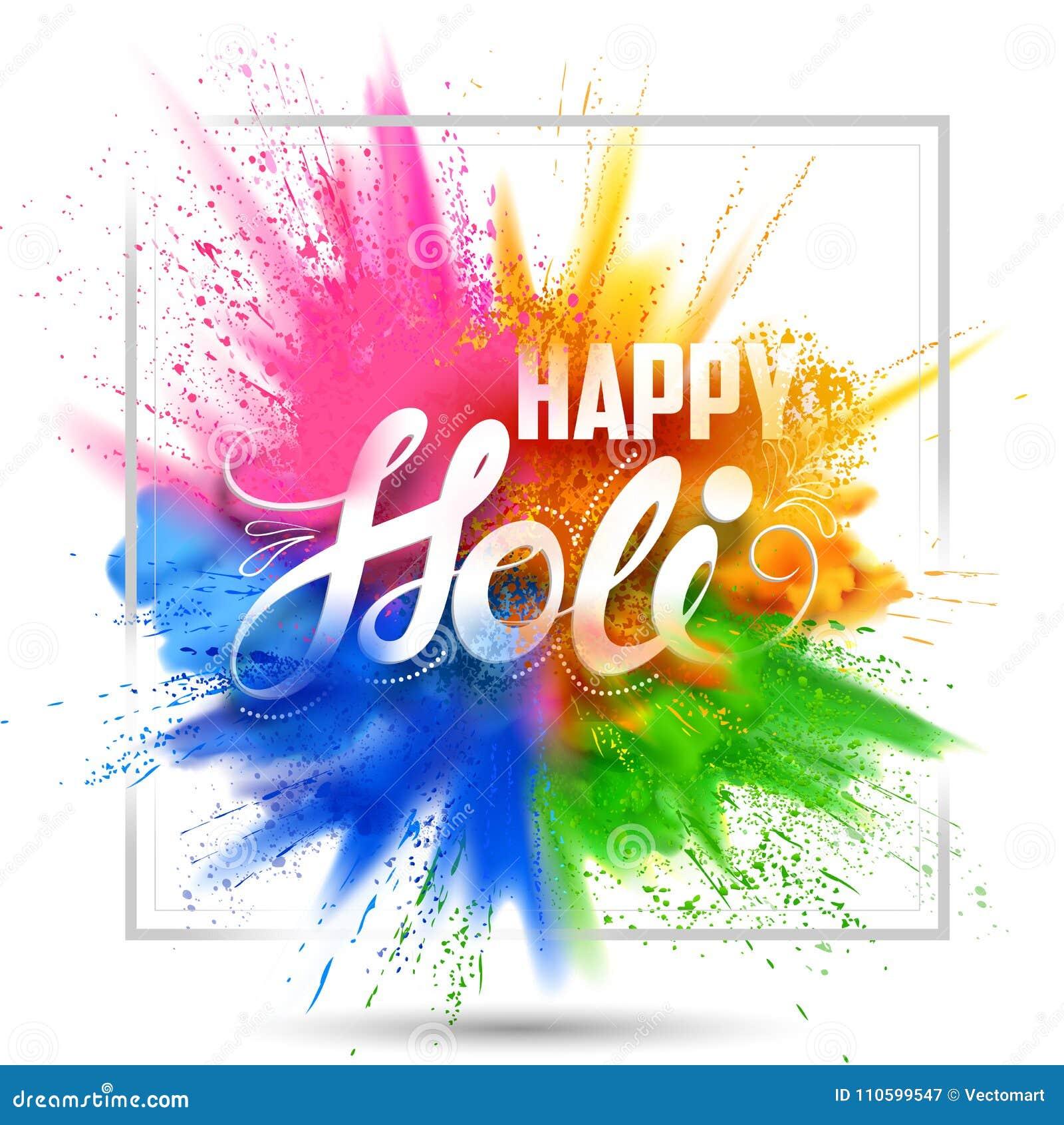 Szczęśliwy Holi tło dla koloru festiwalu India świętowania powitania
