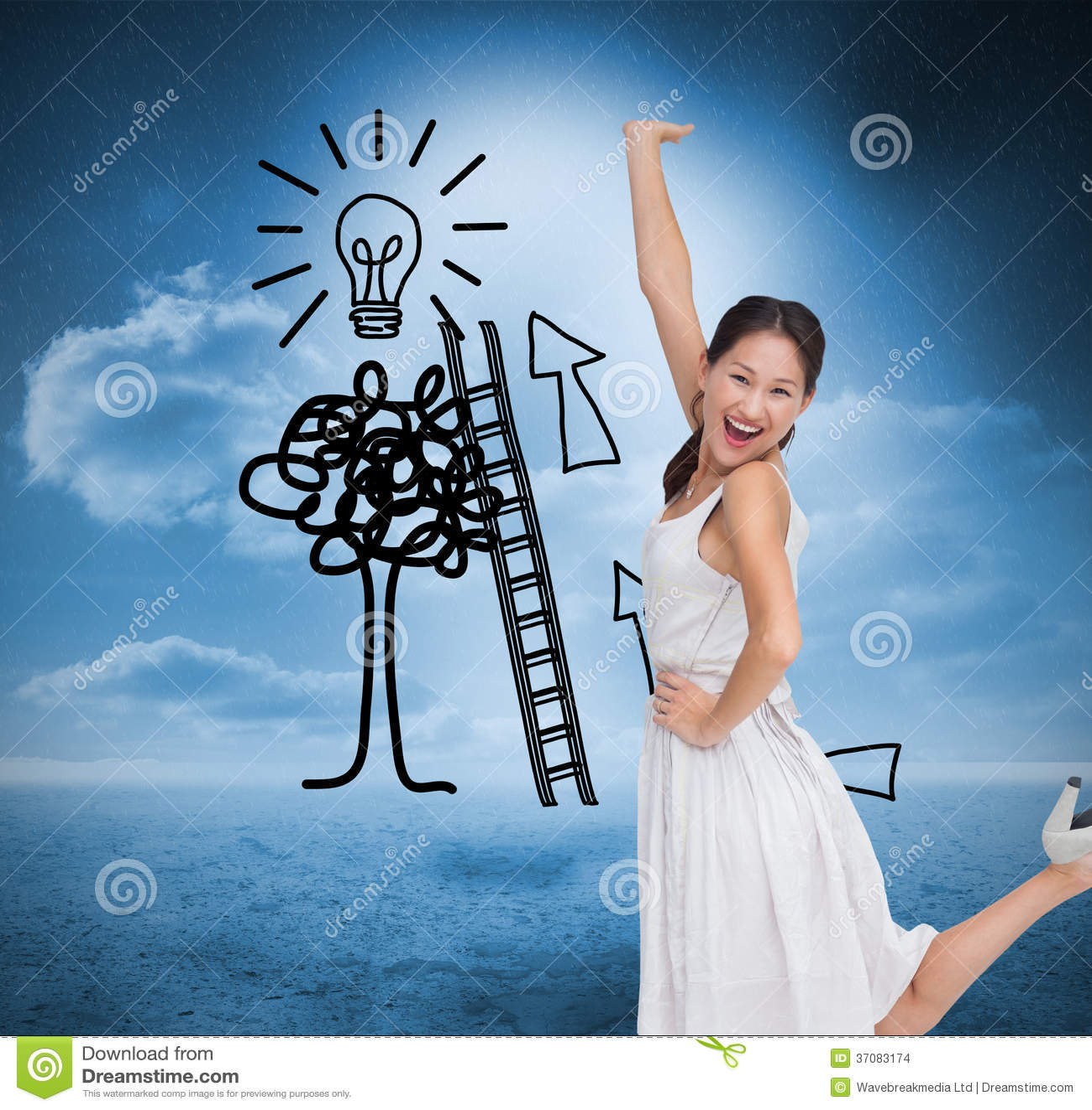 Download Szczęśliwy I Z Klasą Brunetki Pozować Ilustracji - Ilustracja złożonej z piękno, atrakcyjny: 37083174