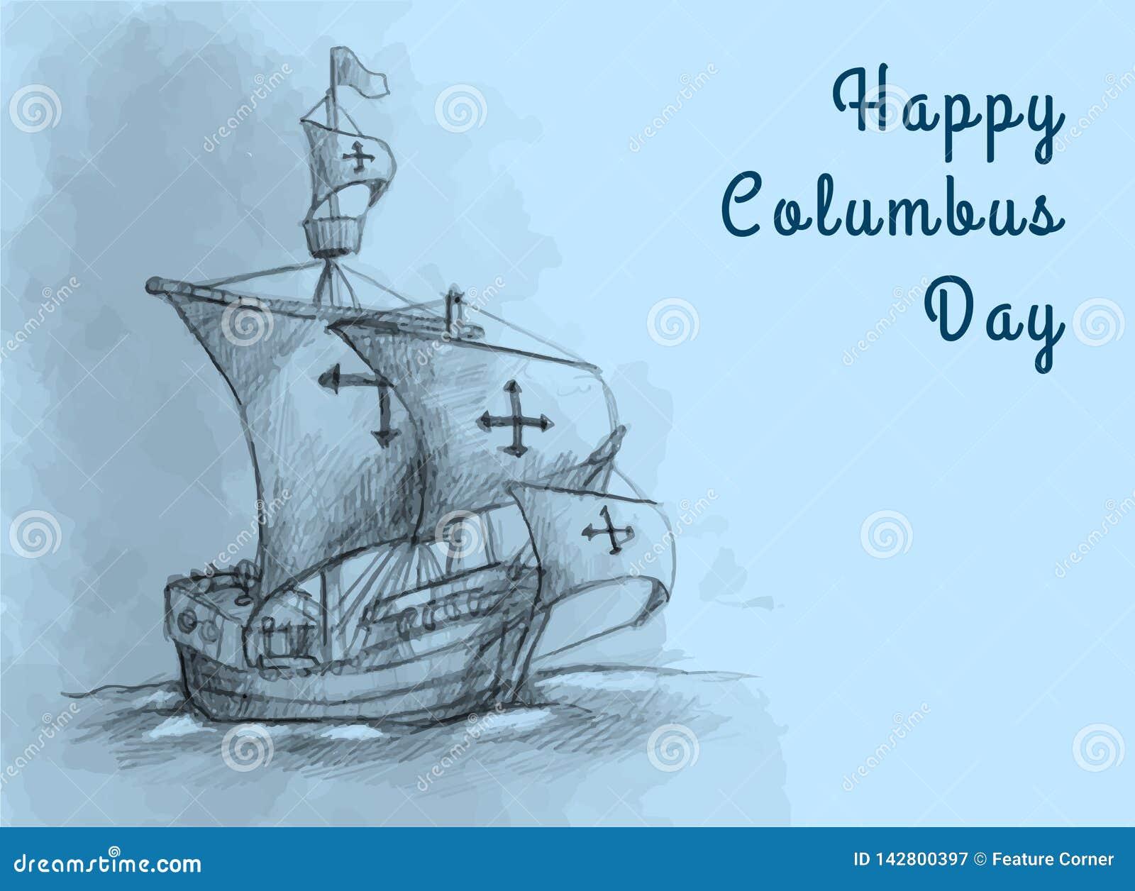 Szczęśliwy Kolumb dnia projekta pojęcia Wektorowy Płaski projekt Szczęśliwi Kolumb dnia powitania, sztandar, pocztówka, plakat lu