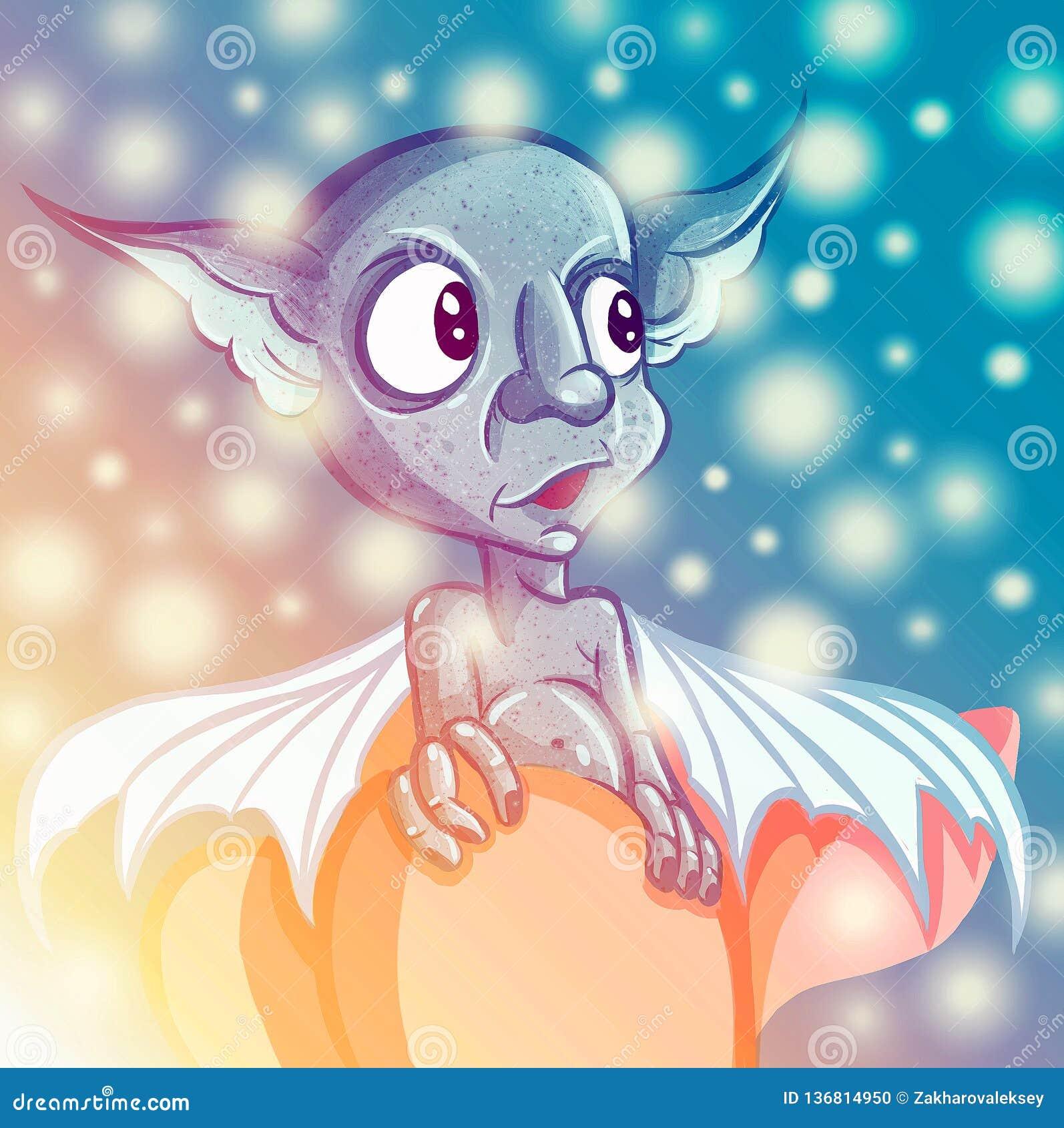 Szczęśliwy kreskówki gremlin potwór Halloweenowa dziwożona lub błękitni ucho błyszczki i dużych