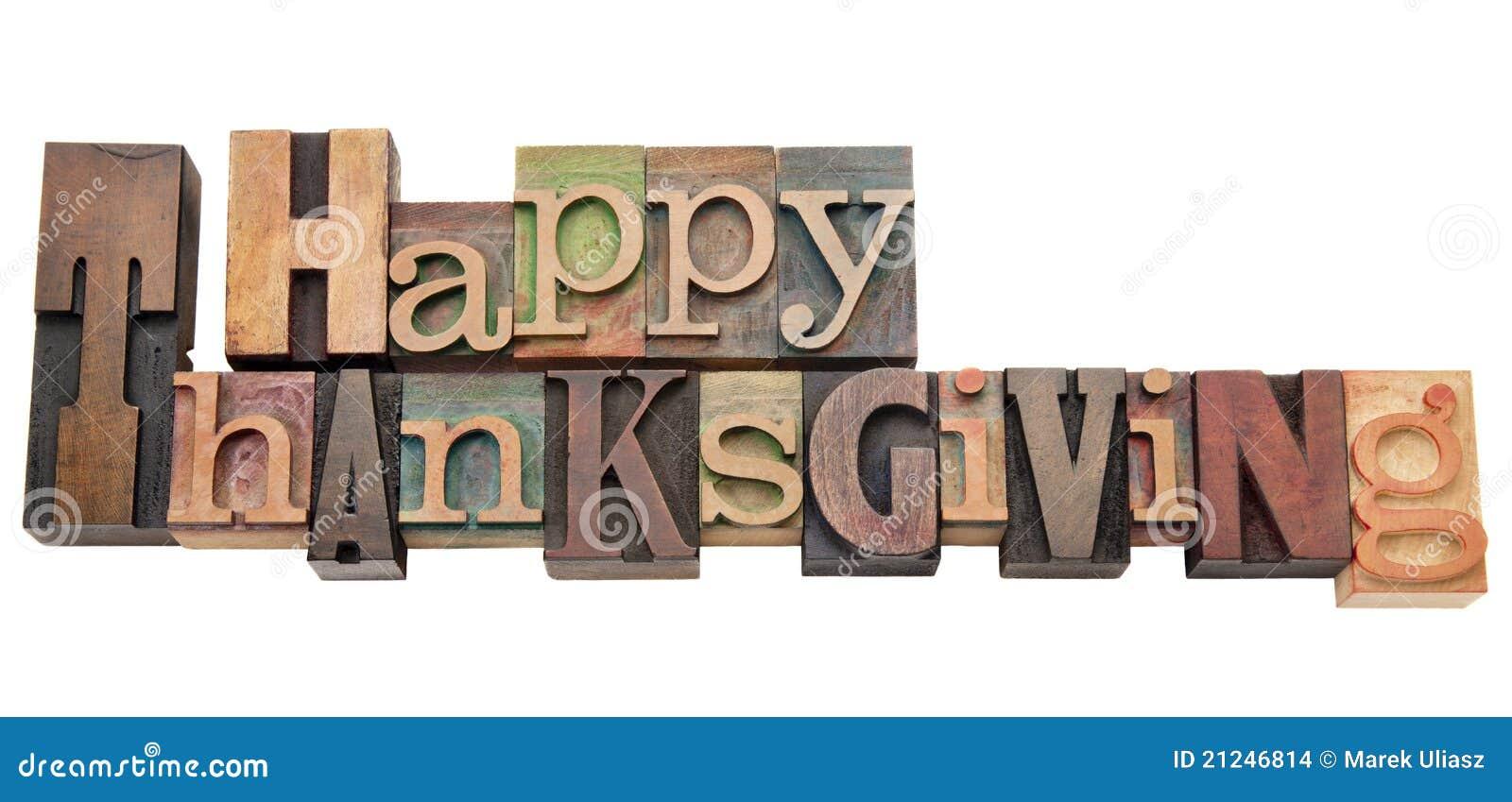 Szczęśliwy letterpress dziękczynienia typ