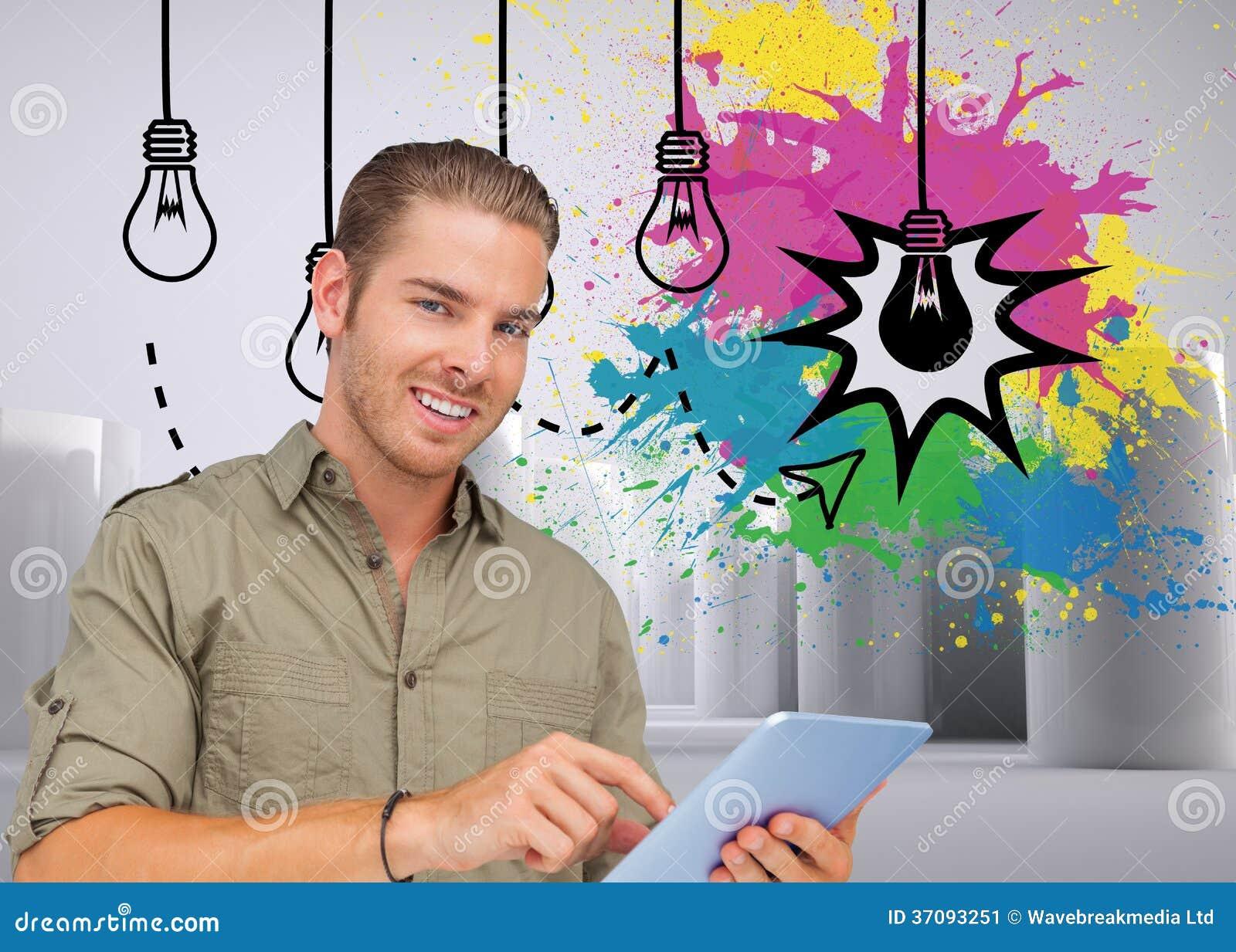Download Szczęśliwy Mężczyzna Używa Pastylka Komputer Osobistego Obraz Stock - Obraz złożonej z styl, biodro: 37093251
