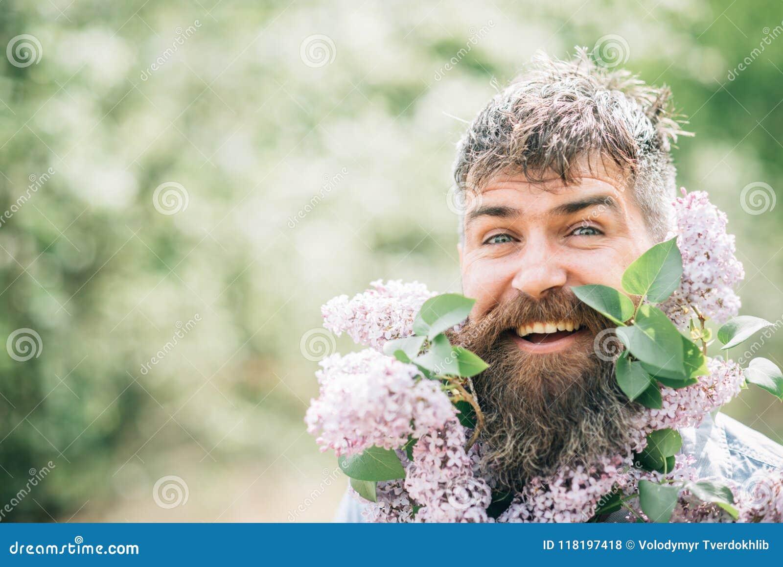 Szczęśliwy mężczyzna z bzem w brodzie Brodaty mężczyzna uśmiech z bzem kwitnie na słonecznym dniu Modniś cieszy się perfumowanie