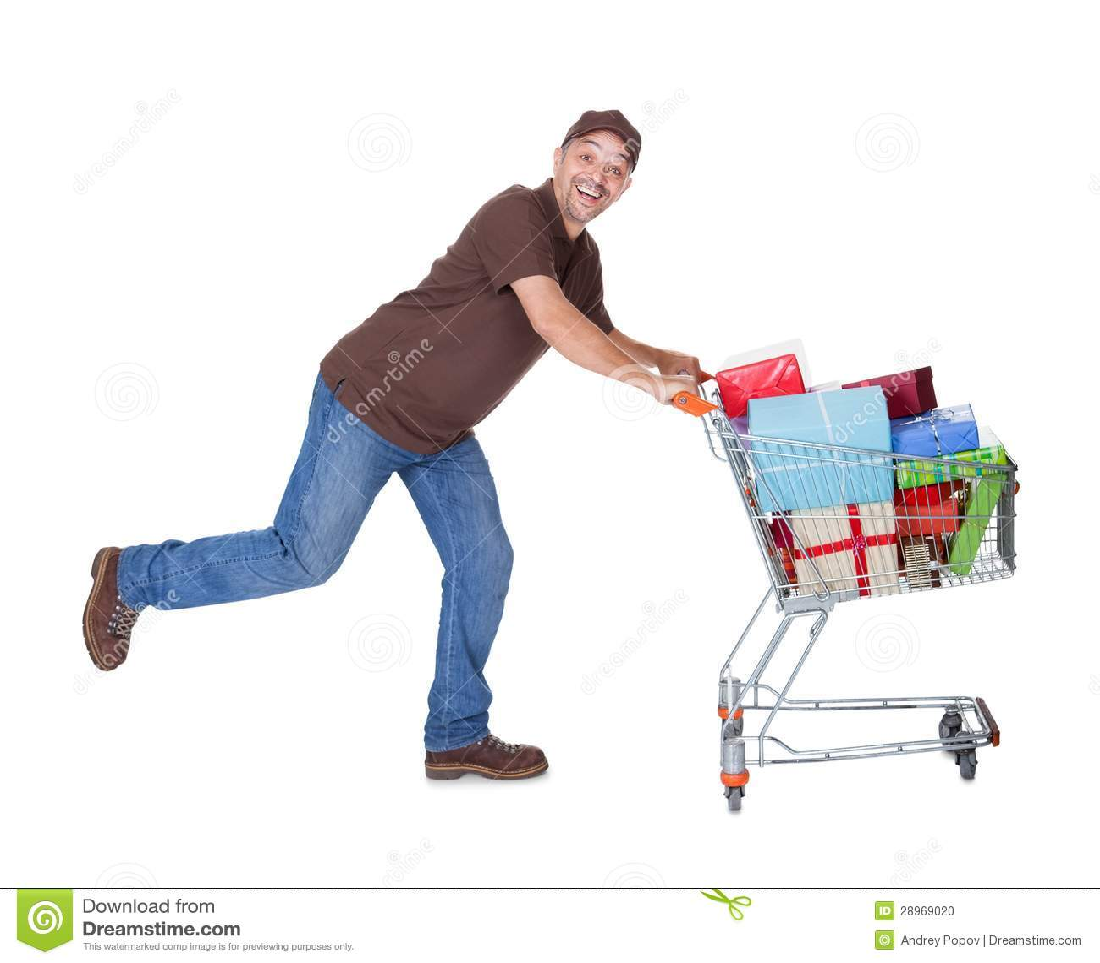 Szczęśliwy mężczyzna Z wózek na zakupy