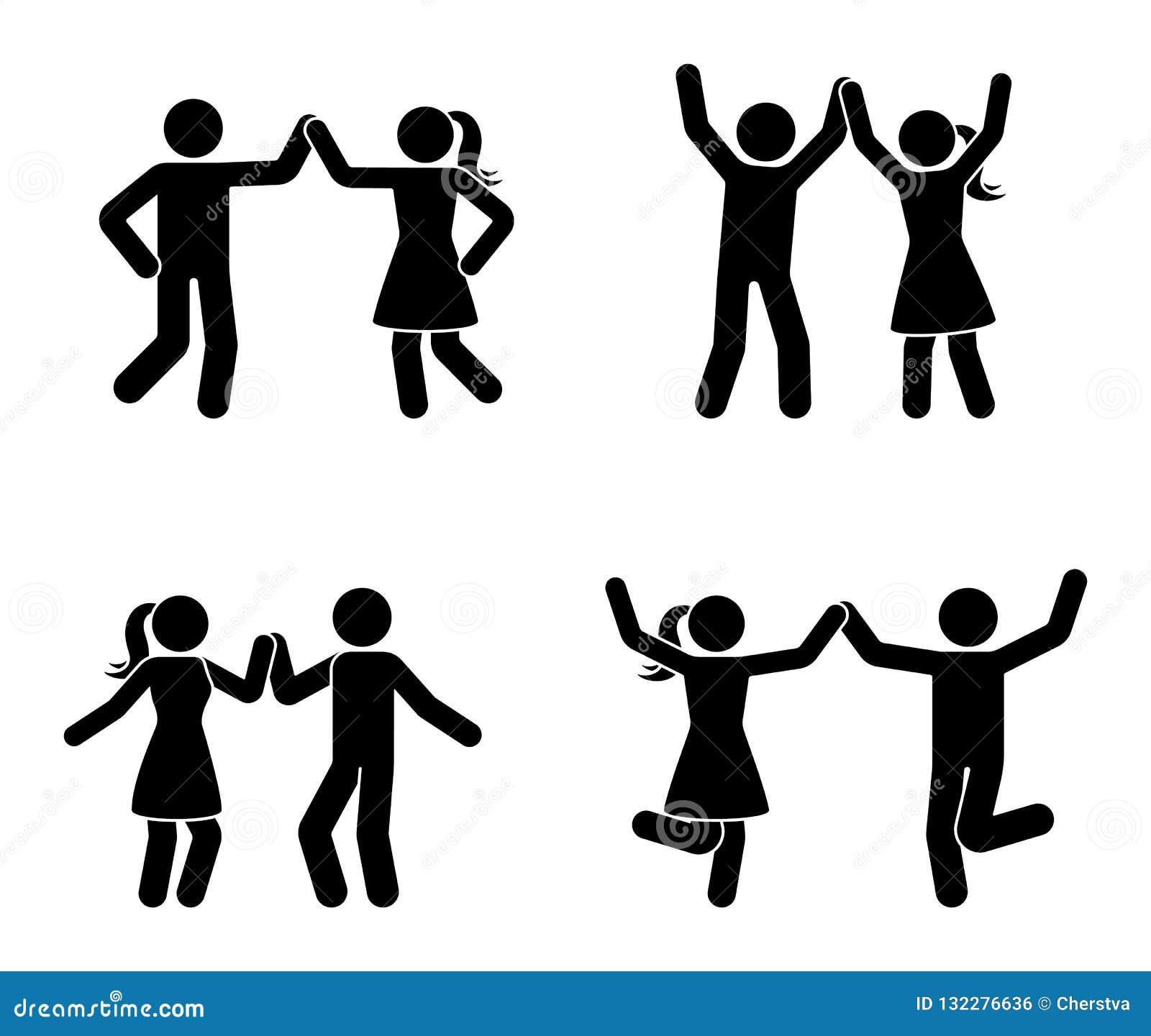 Szczęśliwy mężczyzny i kobiety kij oblicza tana wpólnie Czarny i biały para cieszy się partyjną ikonę