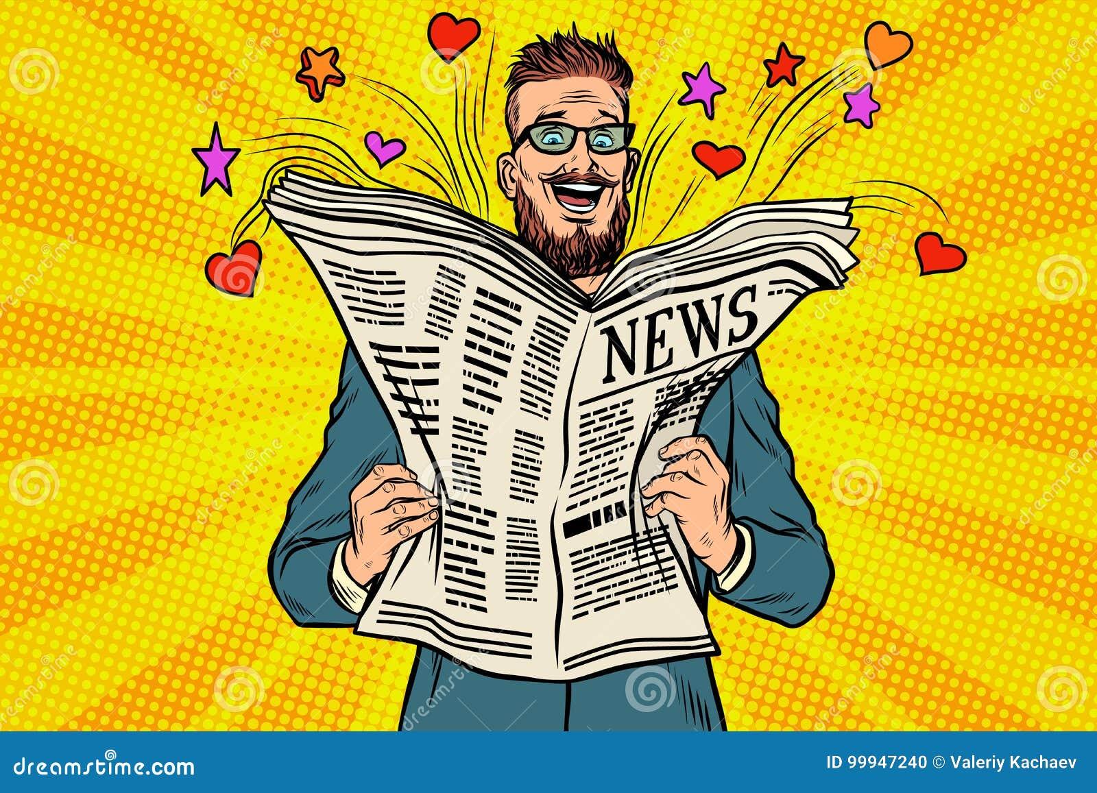 Szczęśliwy modniś czyta gazetową wiadomość