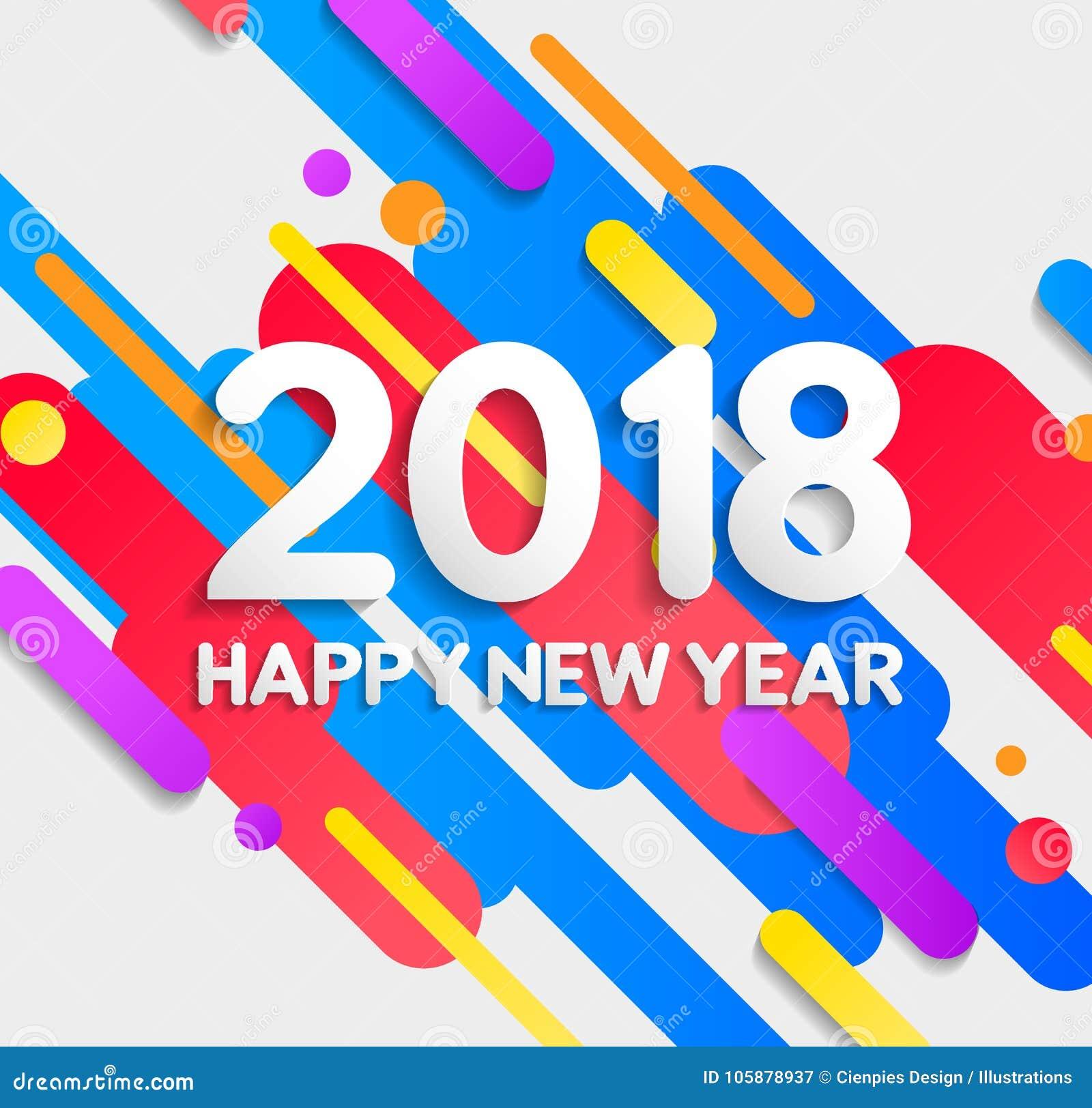 Szczęśliwy 2018 nowego roku elementów kolorowa nowożytna karta