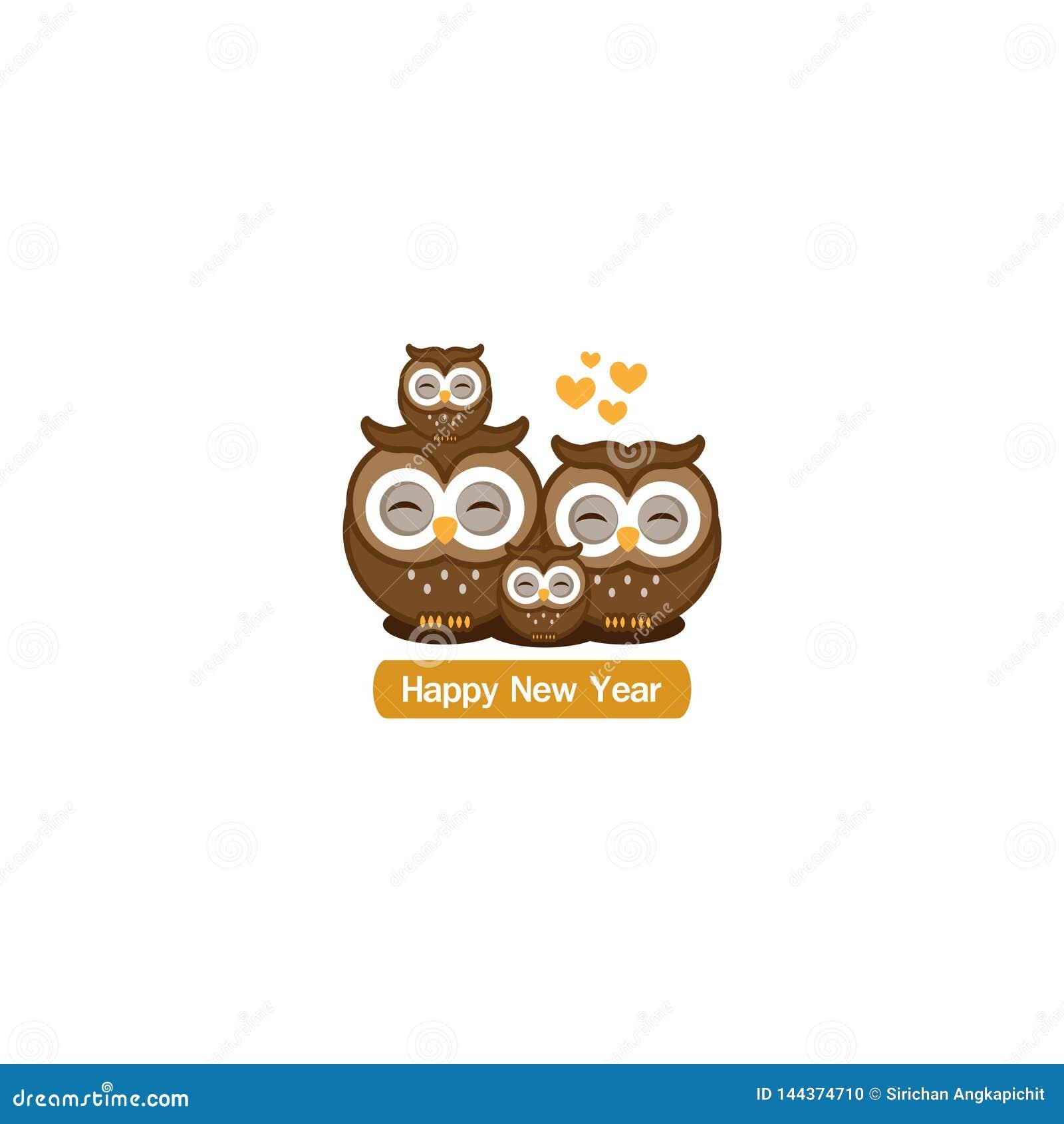 Szczęśliwy nowego roku kartka z pozdrowieniami Śliczna sowy rodziny kreskówka
