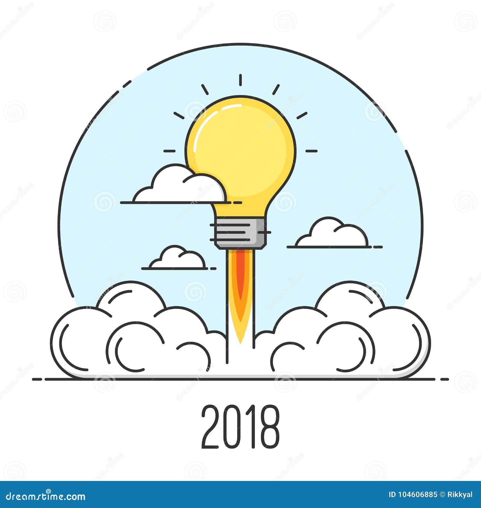 Szczęśliwy 2018 nowego roku kreskowej sztuki stylu płaski pojęcie Początkowy i nowy