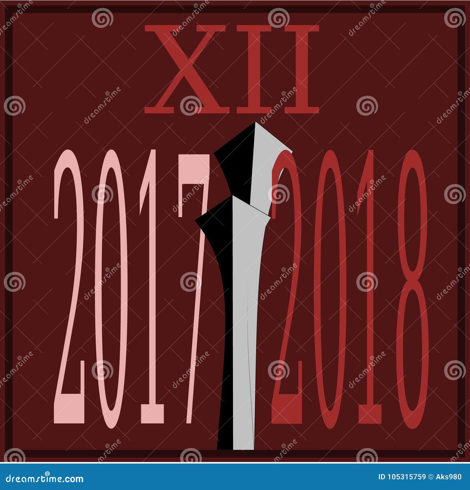 Szczęśliwy nowego roku 2018 omijanie 2017 zegarowych ręk pokrywa się 2017 Wektorowych ilustracyjnych żywych zmrok - czerwony tło