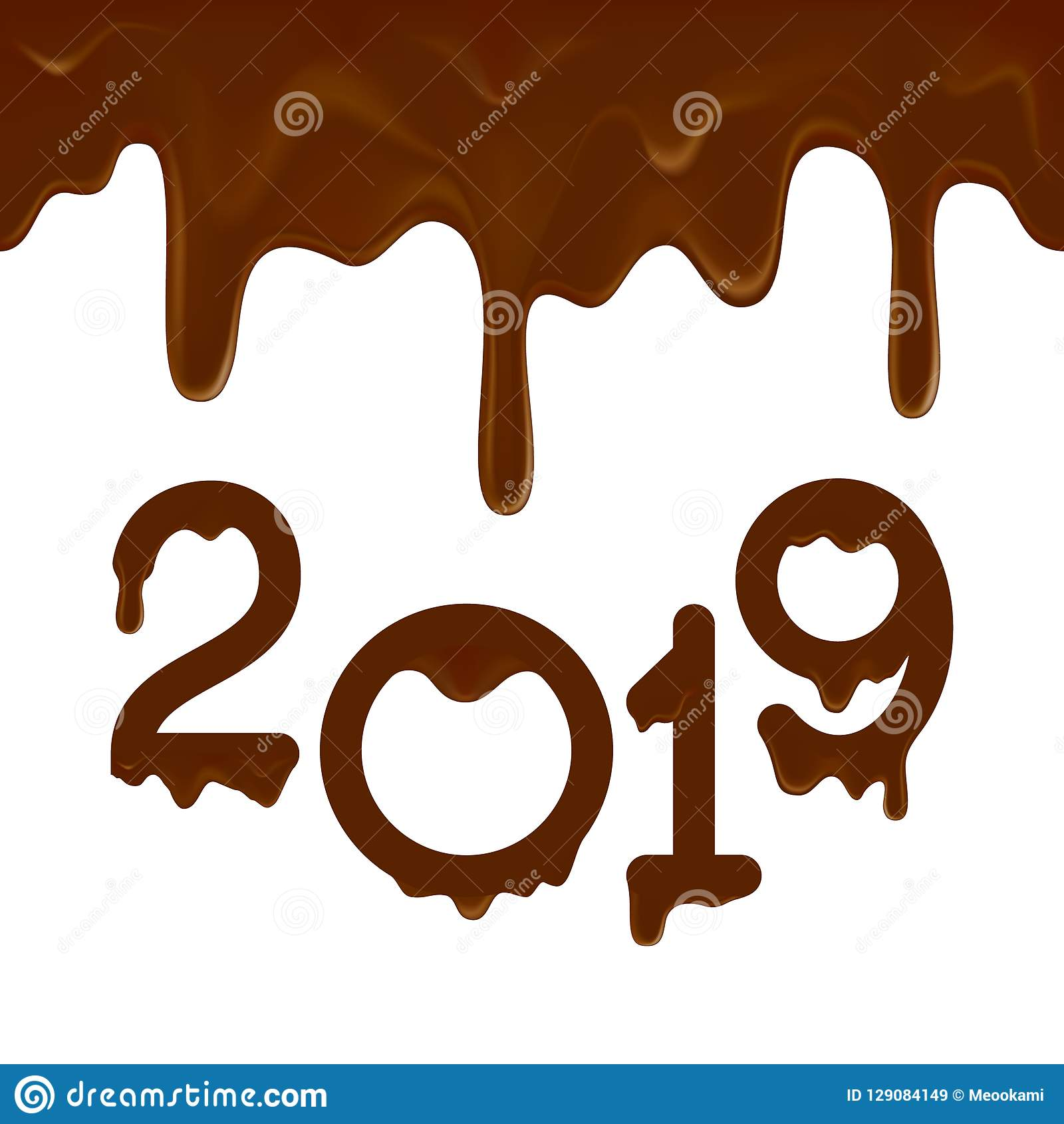 Szczęśliwy nowego roku 2019 sztandar z czekoladowymi kapinosami