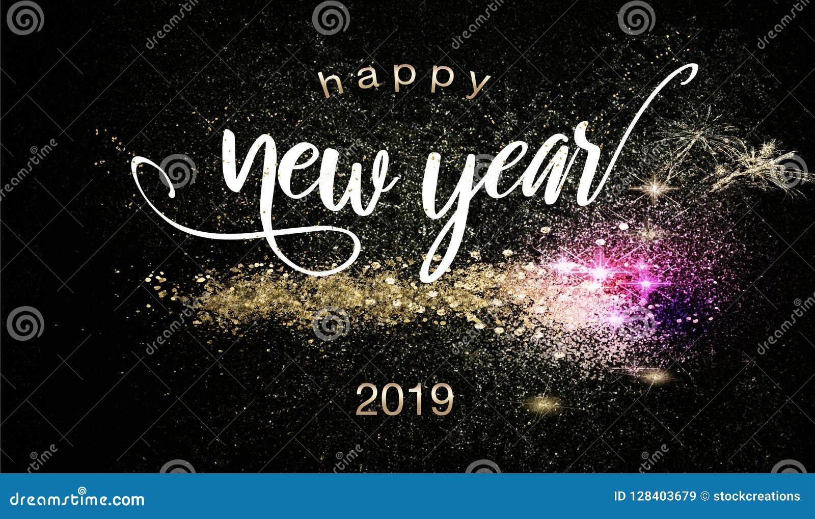 Szczęśliwy nowego roku 2019 tło z sparklers
