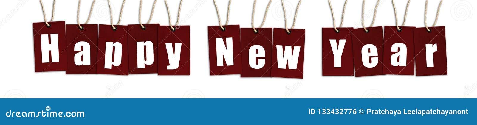 Szczęśliwy nowego roku tekst na czerwonego koloru etykietkach odizolowywać na Białym Backgrou