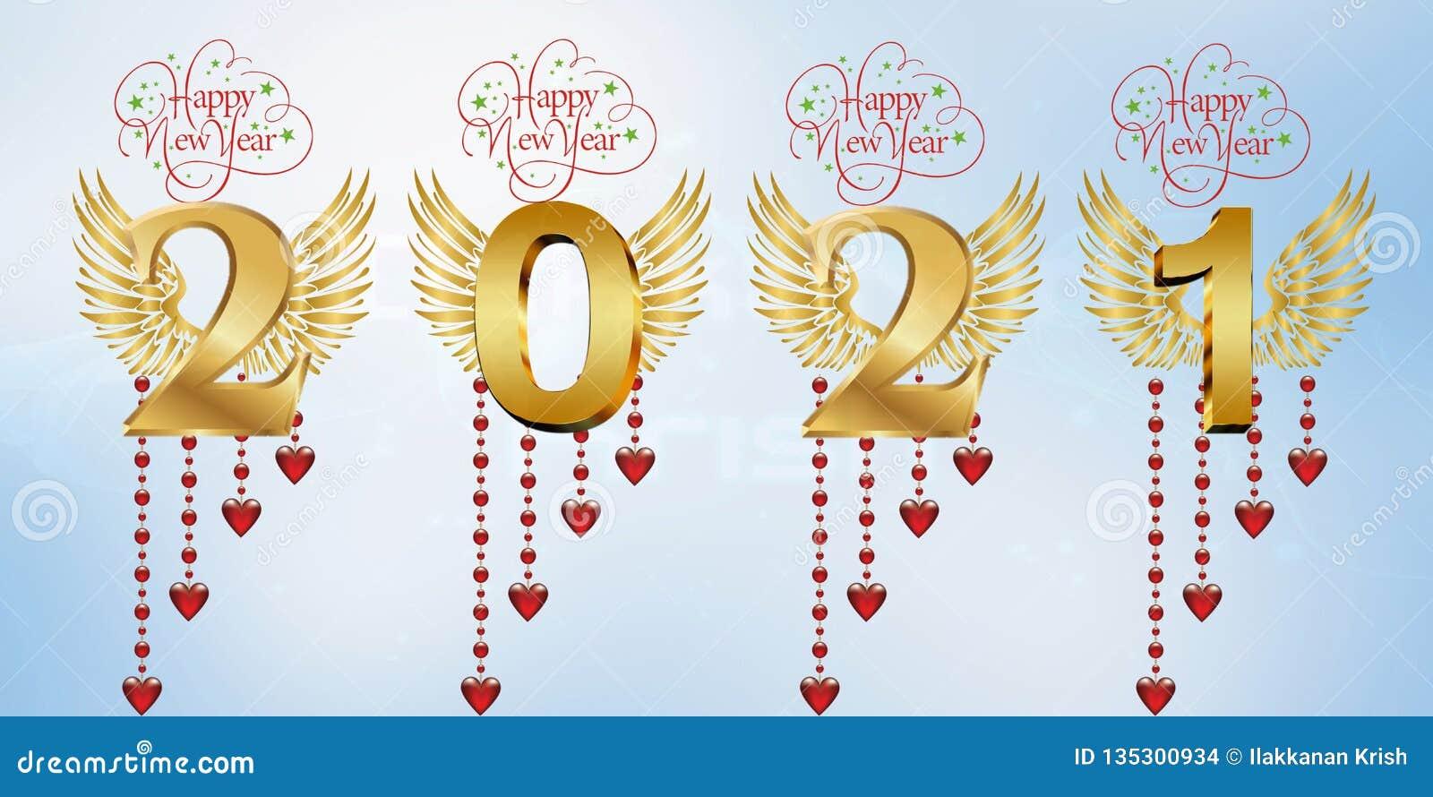 Szczęśliwy nowy rok 2021 ilustracji. Ilustracja złożonej z2021 - 135300934