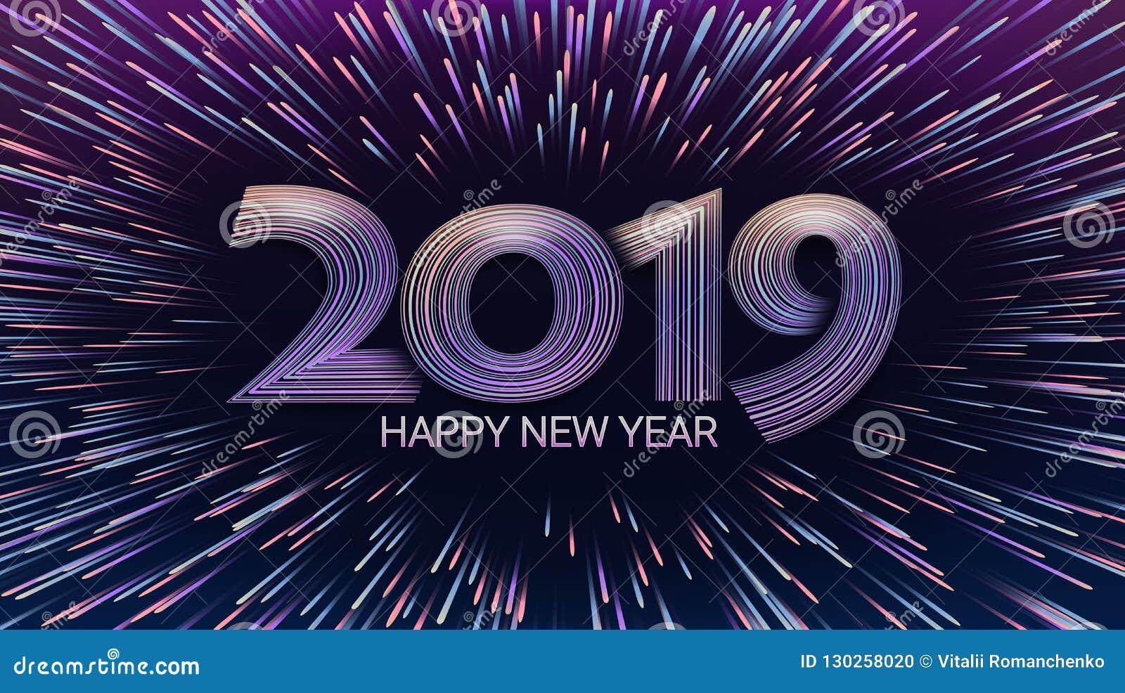 Szczęśliwy nowy rok 2019 Boże Narodzenia Wybuch fajerwerki i salut Zaświeca migocące cząsteczki jarzeniowy skutek Świętowanie