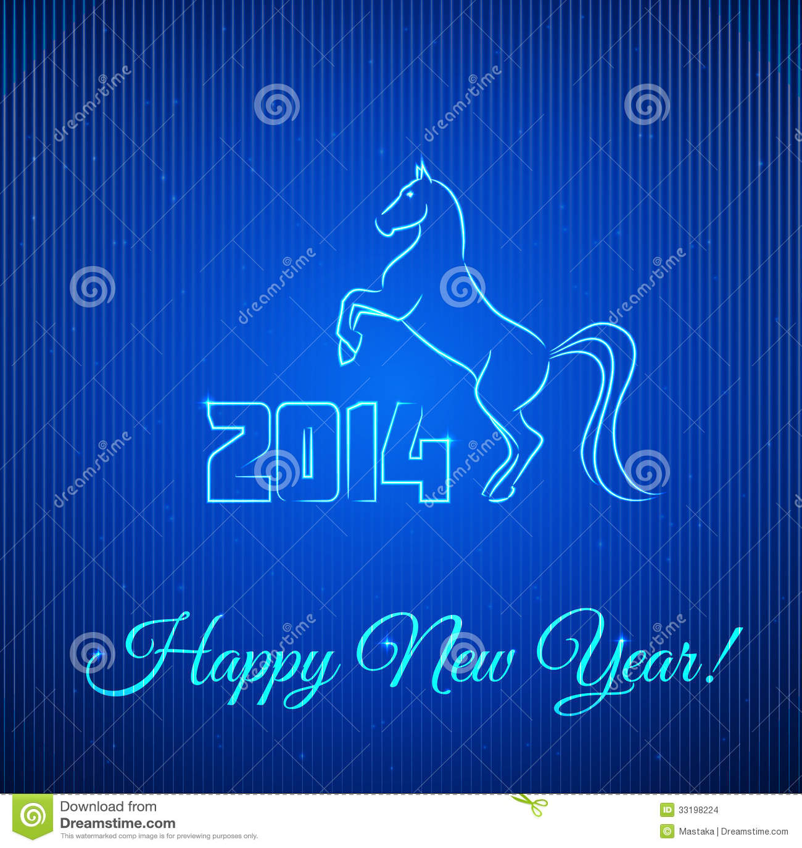 Szczęśliwy nowy rok 2014. Iluminujący Neonowy koń.