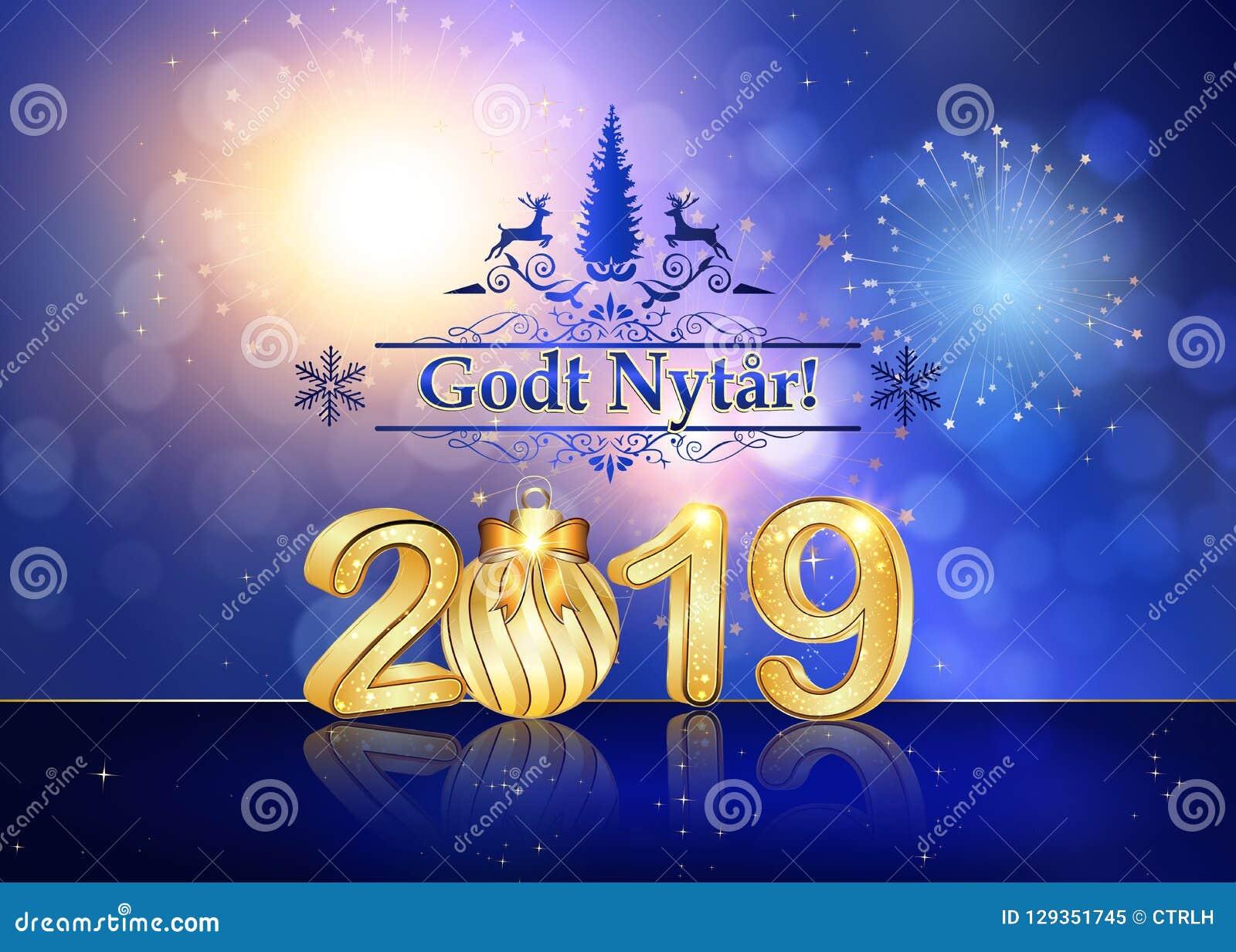 Szczęśliwy nowy rok 2019 - kartka z pozdrowieniami z tekstem w Duńskim
