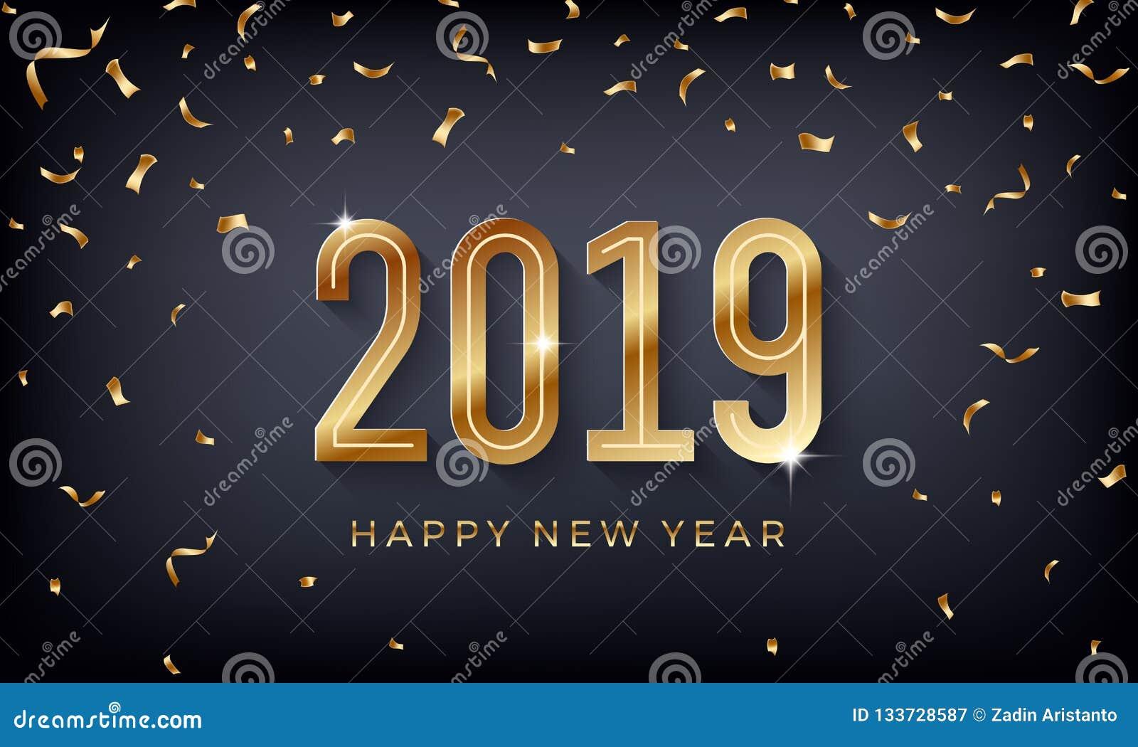 Szczęśliwy nowy rok 2019 Kreatywnie abstrakcjonistyczna wektorowa ilustracja z błyskać złote liczby na ciemnym tle