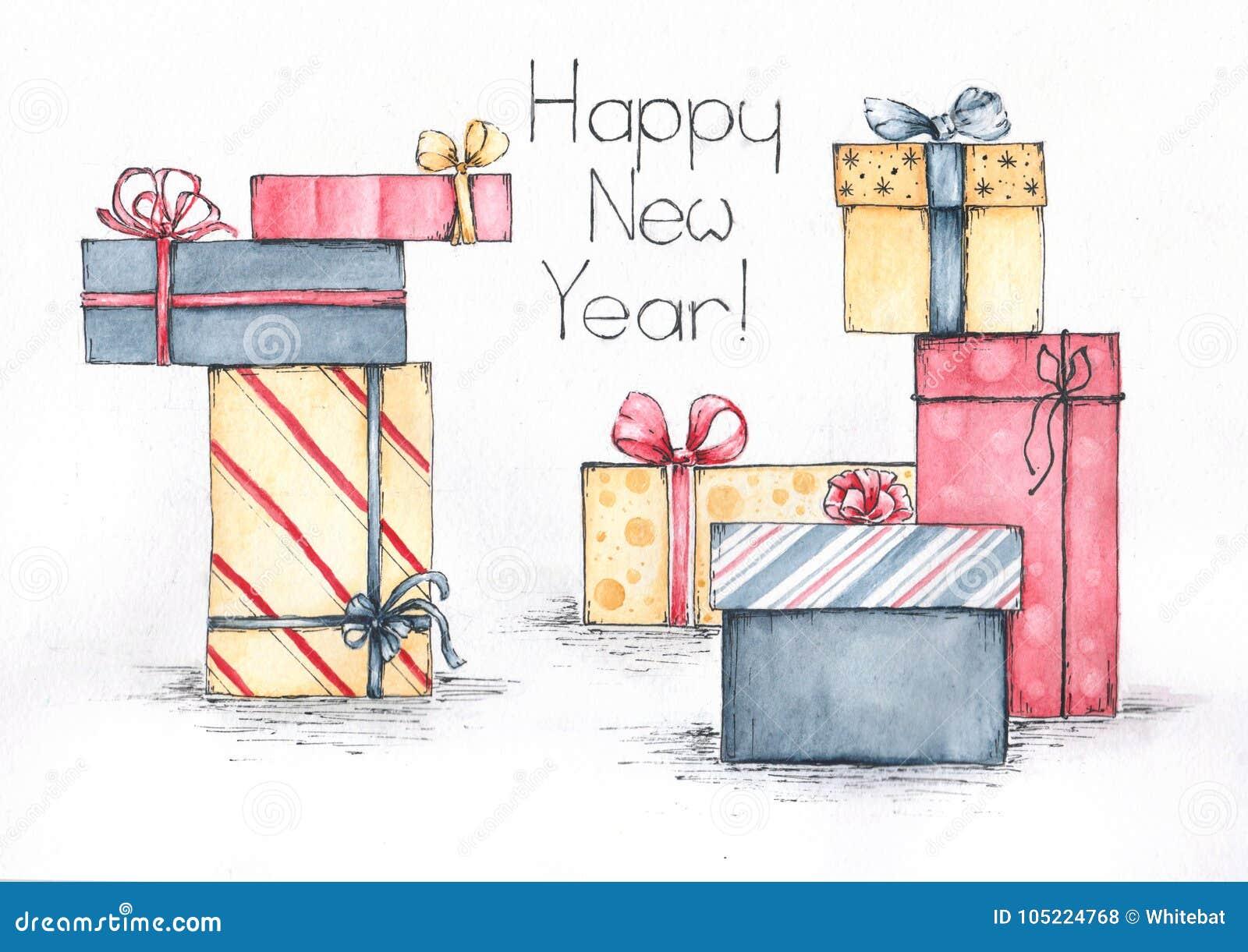 Szczęśliwy nowy rok prezentów akwareli nakreślenie