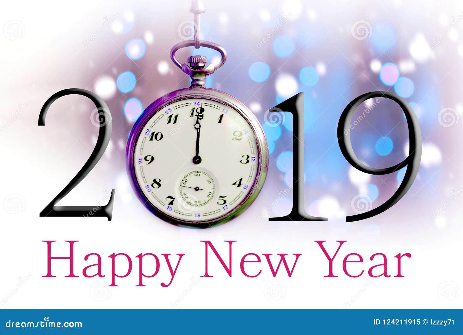 Szczęśliwy nowy rok 2019 Tekst ilustracja i rocznika kieszeniowy zegarek