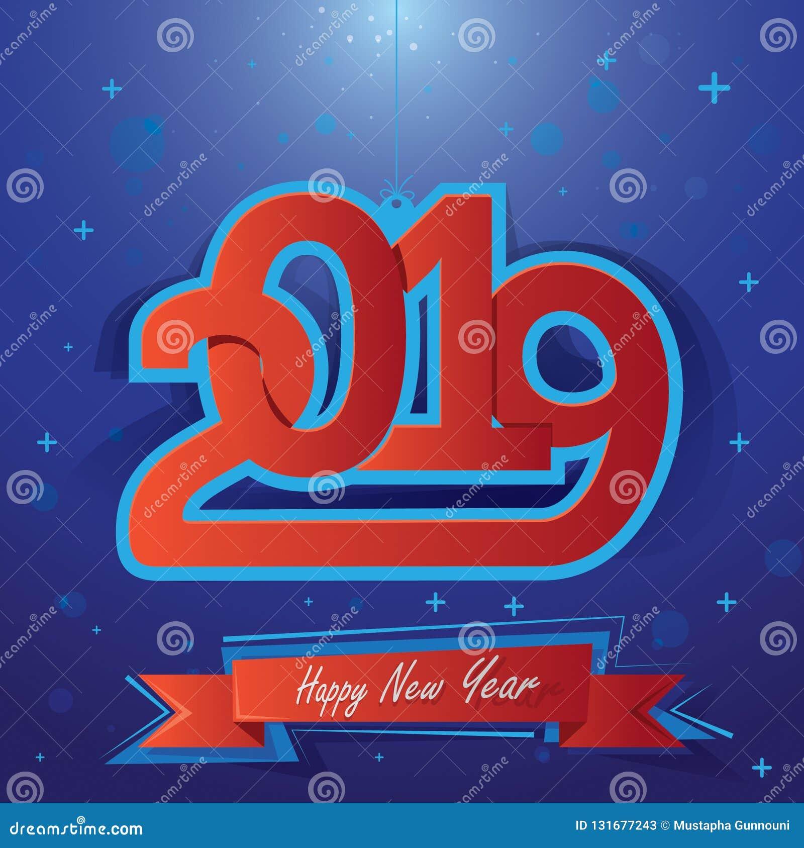 Szczęśliwy nowy rok 2019 Wektorowa ilustracja dla Bożenarodzeniowych holydays