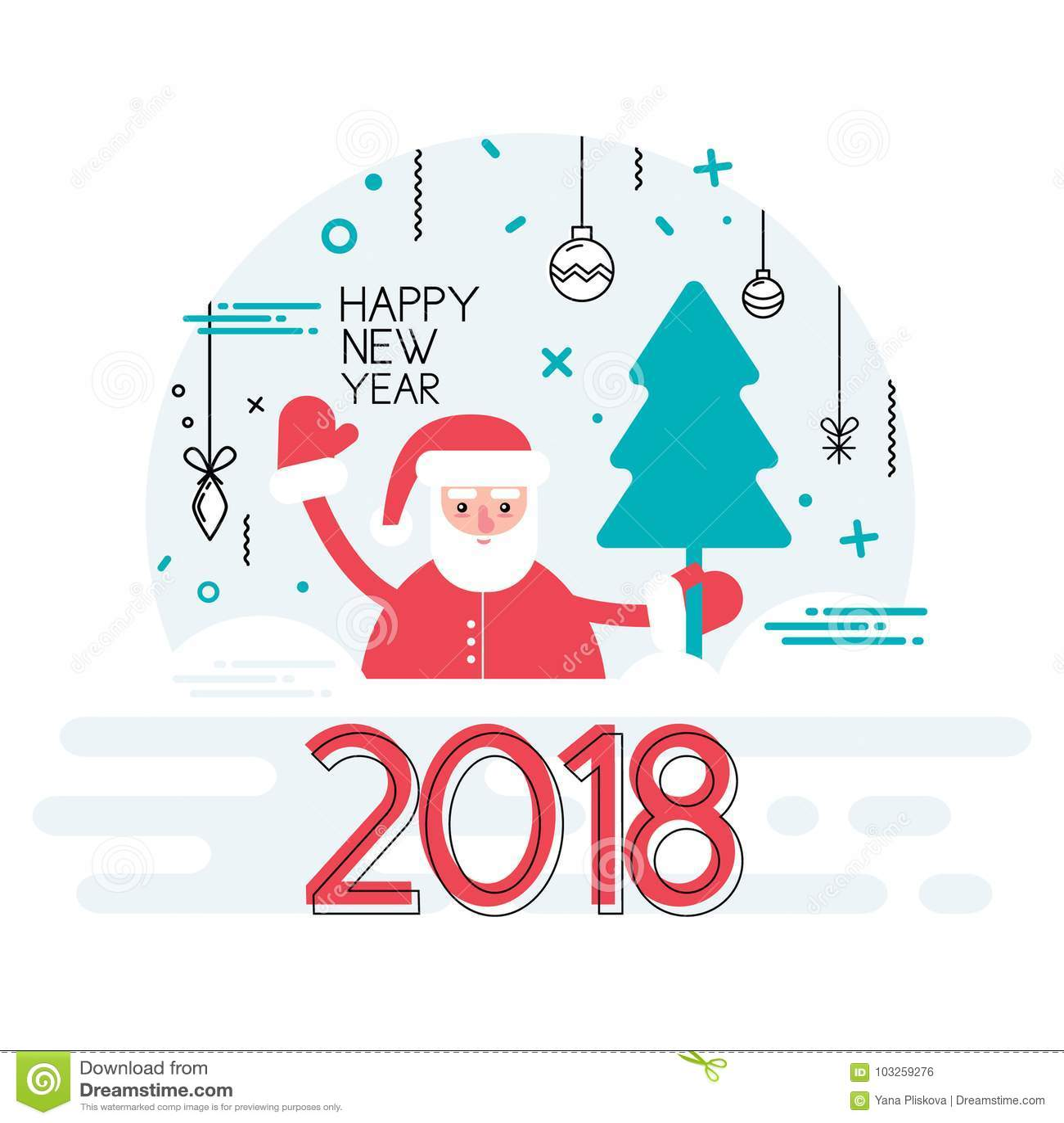 Szczęśliwy nowy rok 2018 rok z faborkiem i Santa wakacje tłem Bożenarodzeniowy dekoracja element Wektorowa ilustracja w