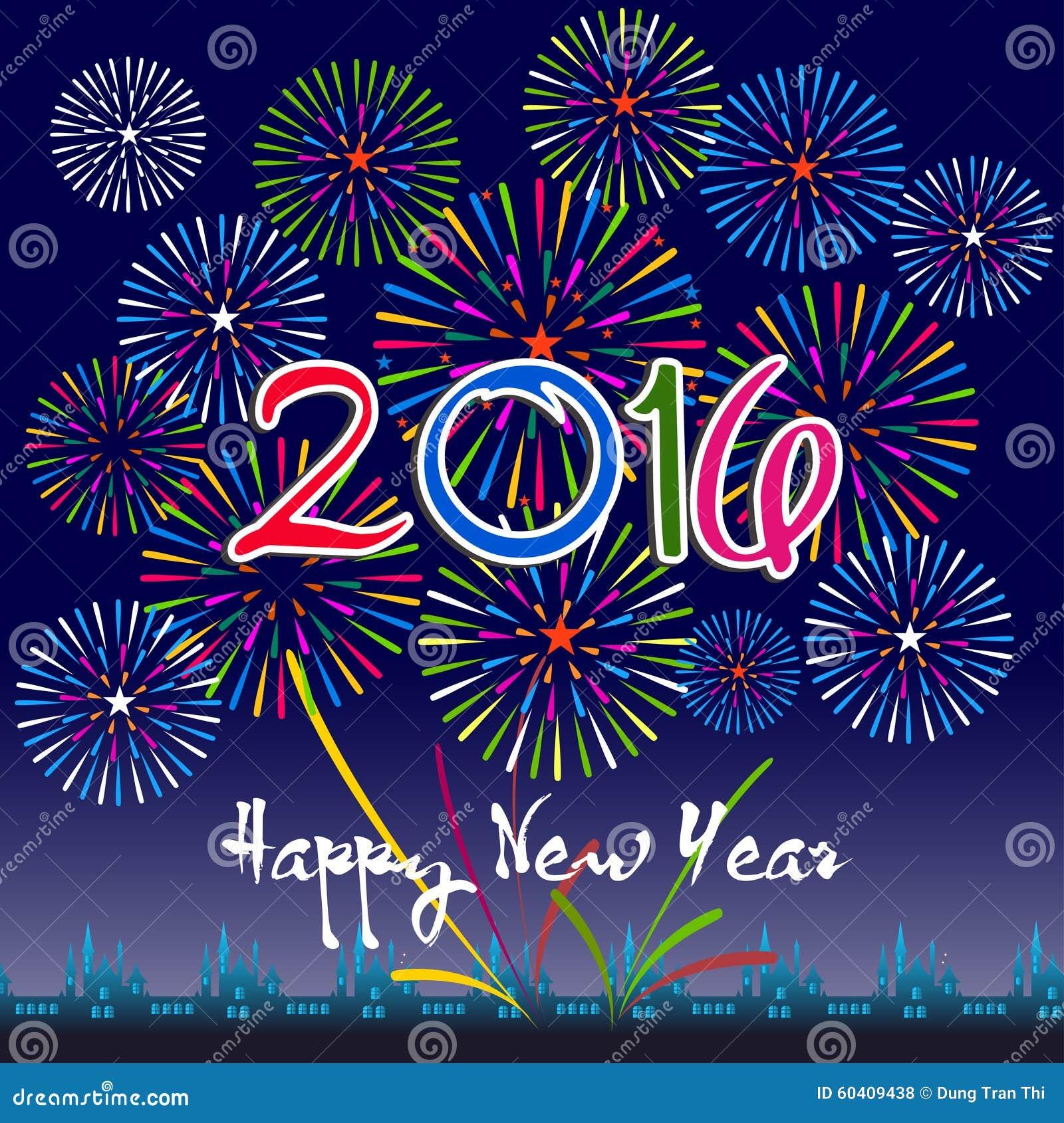 Szczęśliwy nowy rok 2016 z fajerwerku tłem