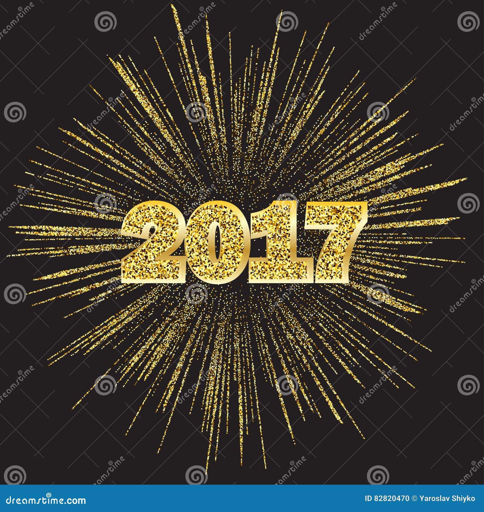 Szczęśliwy nowy rok 2017 z złotymi fajerwerkami na ciemnym tle, wektorowa ilustracja