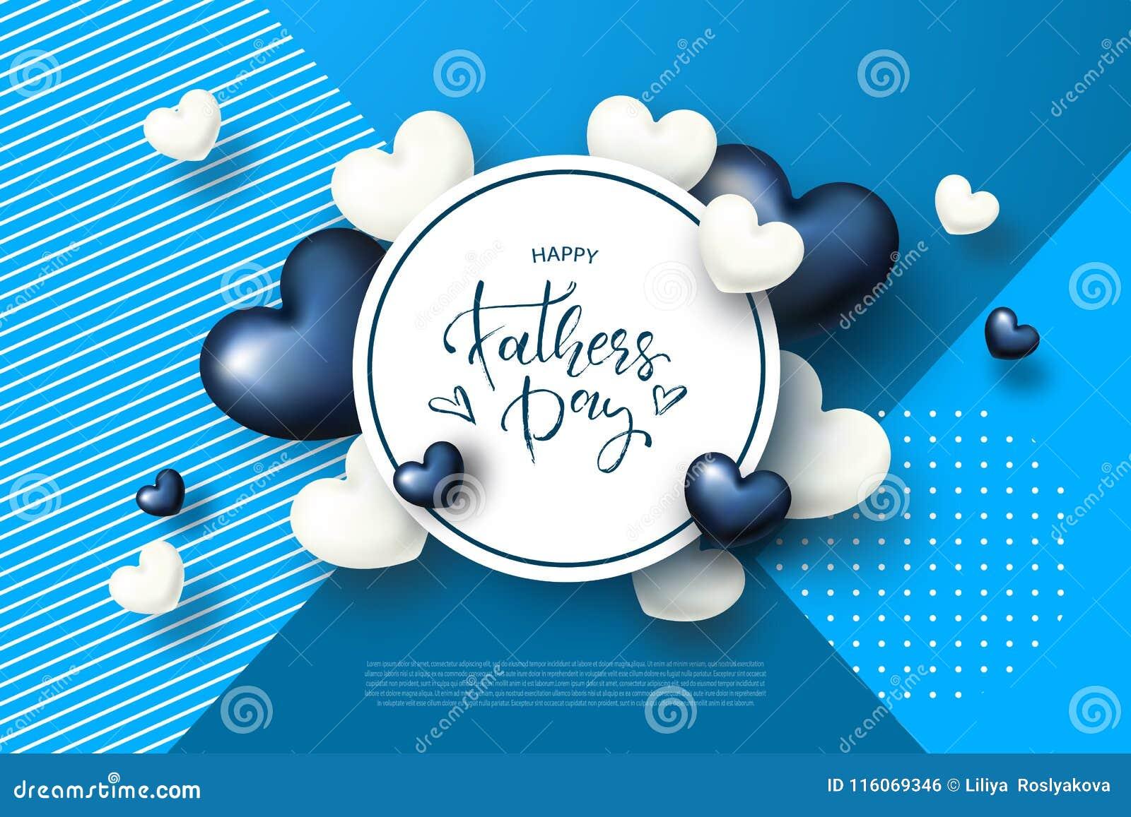 Szczęśliwy ojca s dnia kartka z pozdrowieniami z sercami również zwrócić corel ilustracji wektora