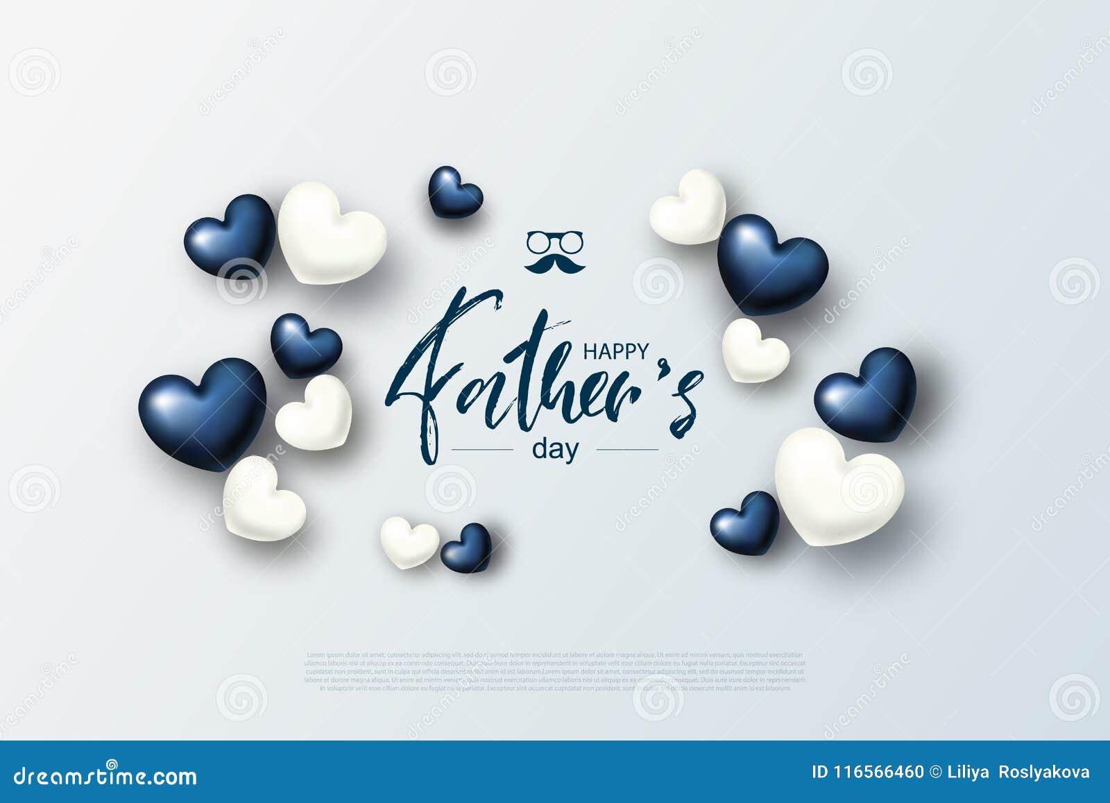 Szczęśliwy ojca ` s dnia kartka z pozdrowieniami z sercami również zwrócić corel ilustracji wektora