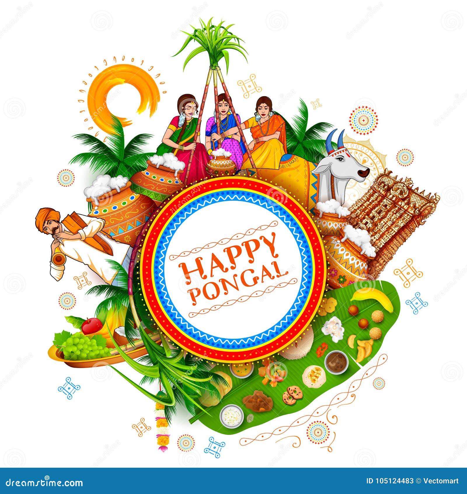Szczęśliwy Pongal żniwa Wakacyjny festiwal tamil nadu India powitania Południowy tło