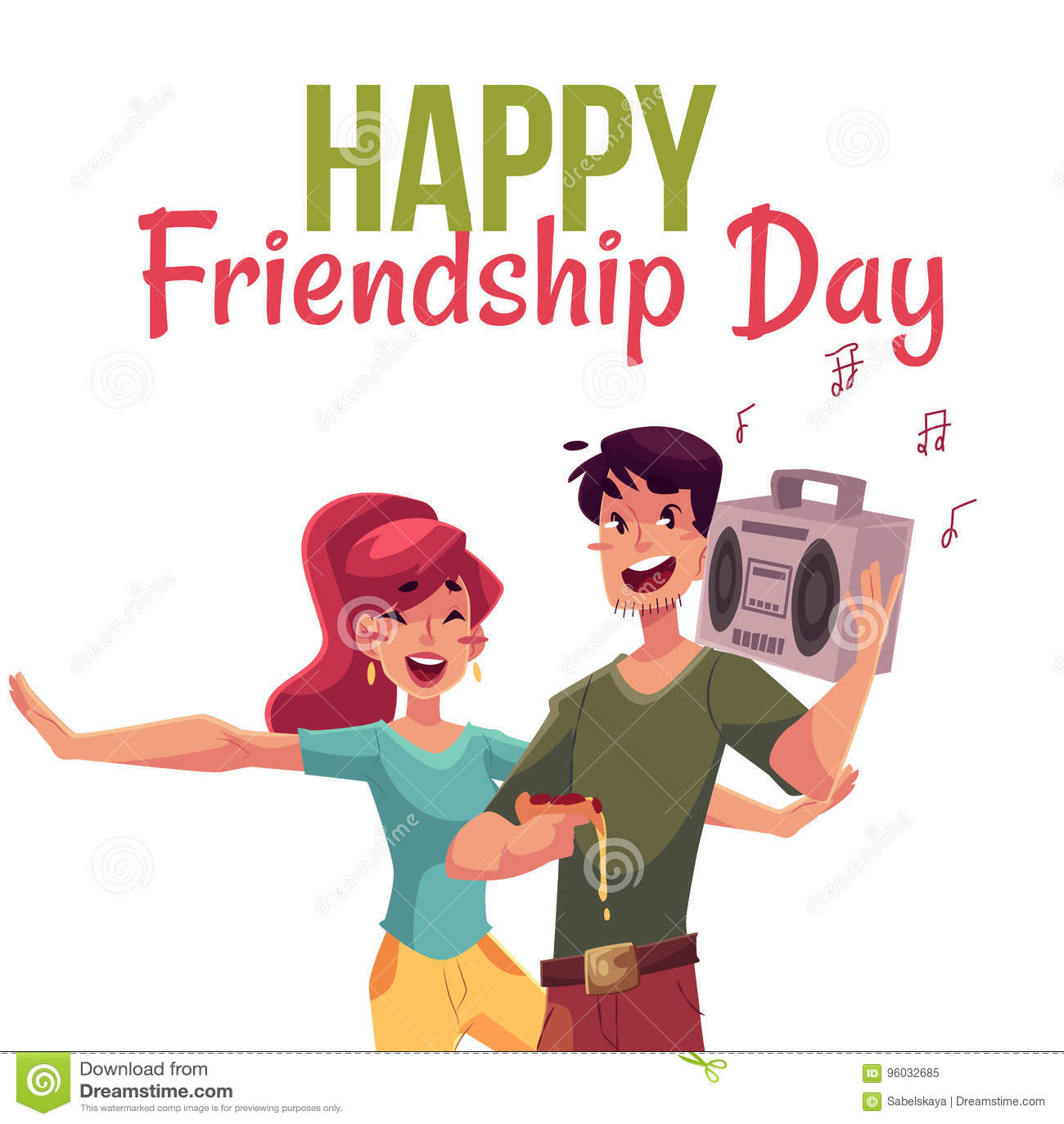 Szczęśliwy przyjaźń dnia kartka z pozdrowieniami