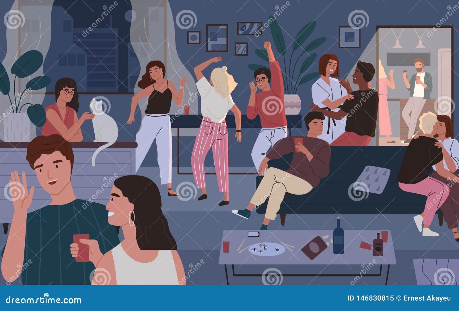 Szczęśliwy przyjaciela przyjęcie w domu Mieszkanie lub żywy izbowy pełny ludzie ma zabawę, tana i opowiadać, Młodzi śliczni mężcz