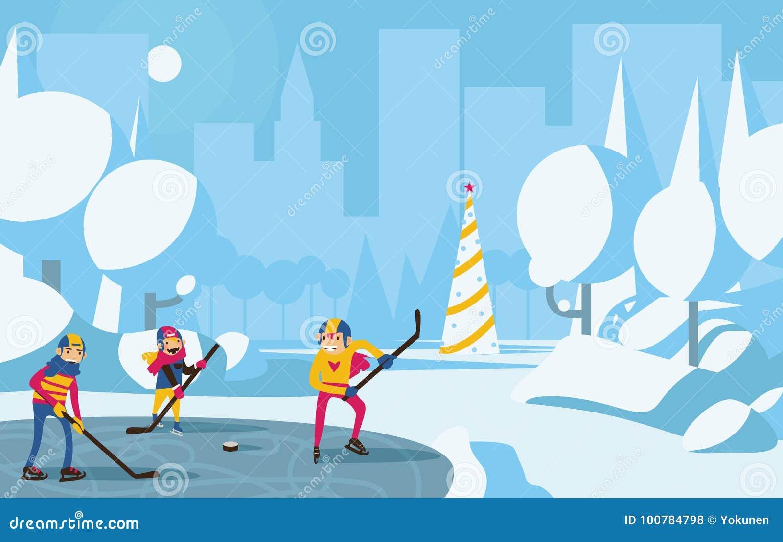 Szczęśliwy rodzinny bawić się hokej w parku w mieście Drzewa z śniegu, błękita i aqua kolorami, choinka na tle Horyzontalny v