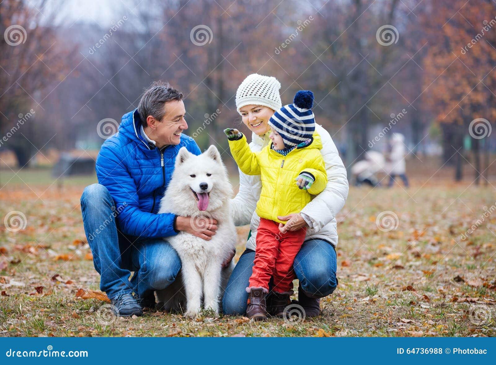 Szczęśliwy rodzinny bawić się z samoyed psem w jesień parku
