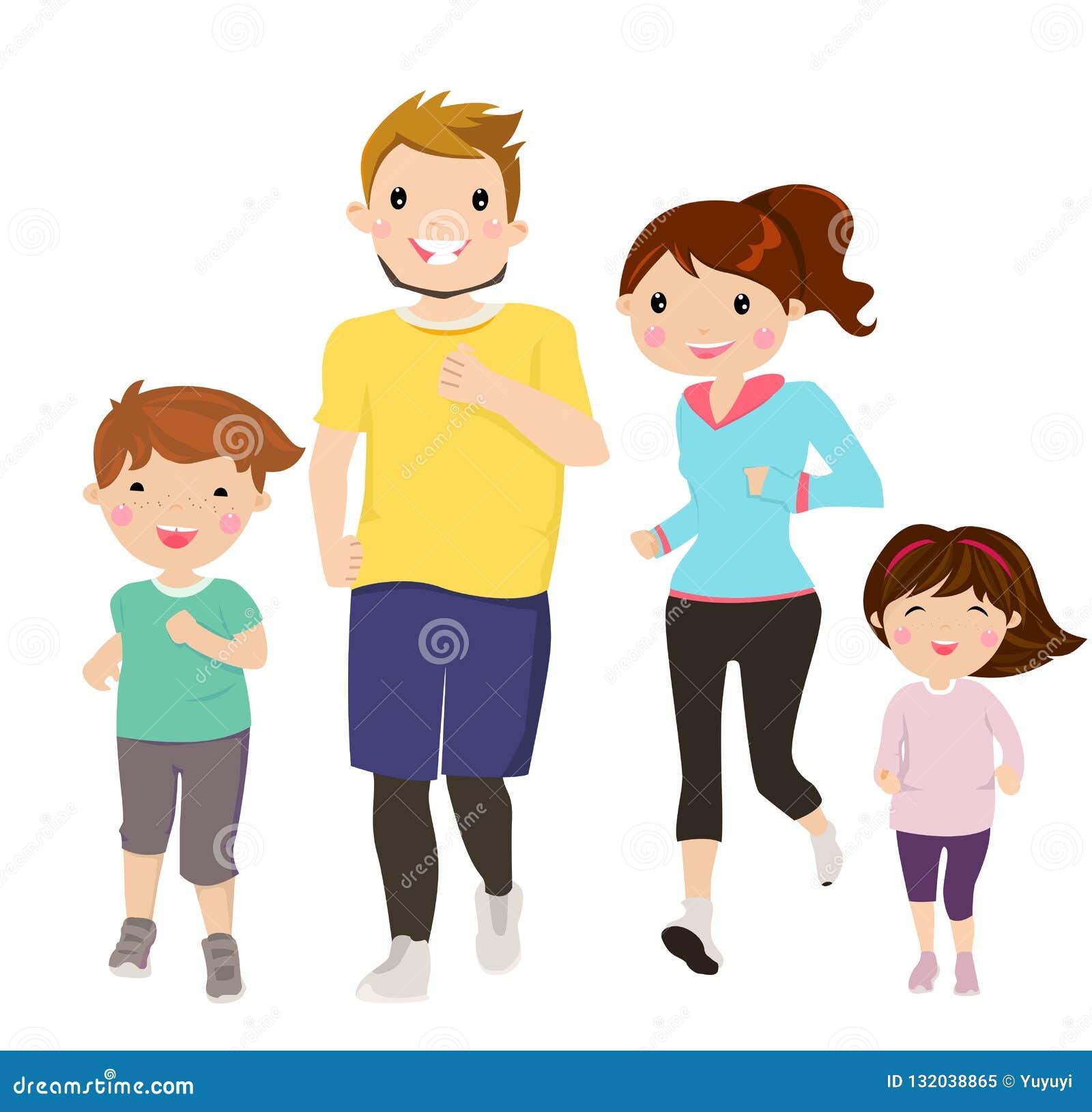 Szczęśliwy rodzinny bieg