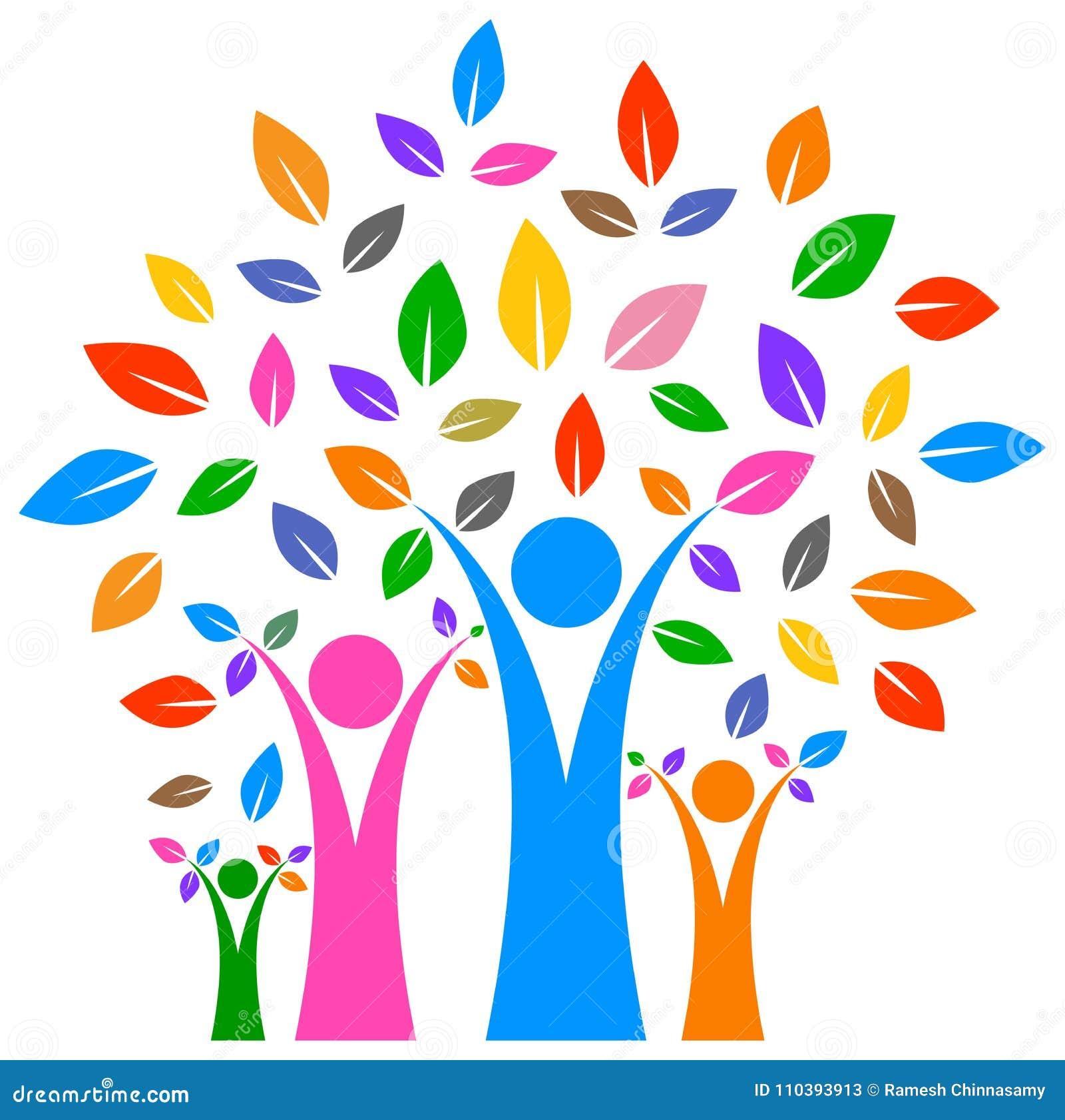 Szczęśliwy rodzinny drzewo z kolorowym projektem