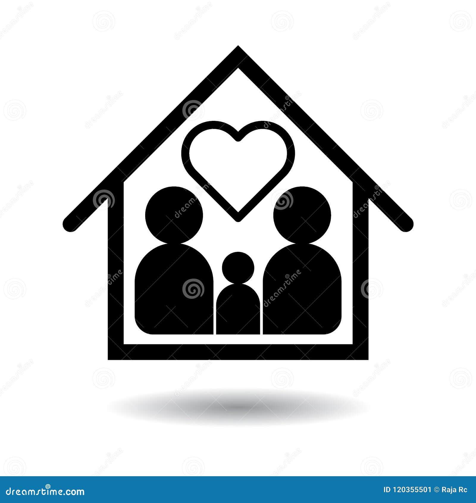 Szczęśliwy rodzinny ikony czerń