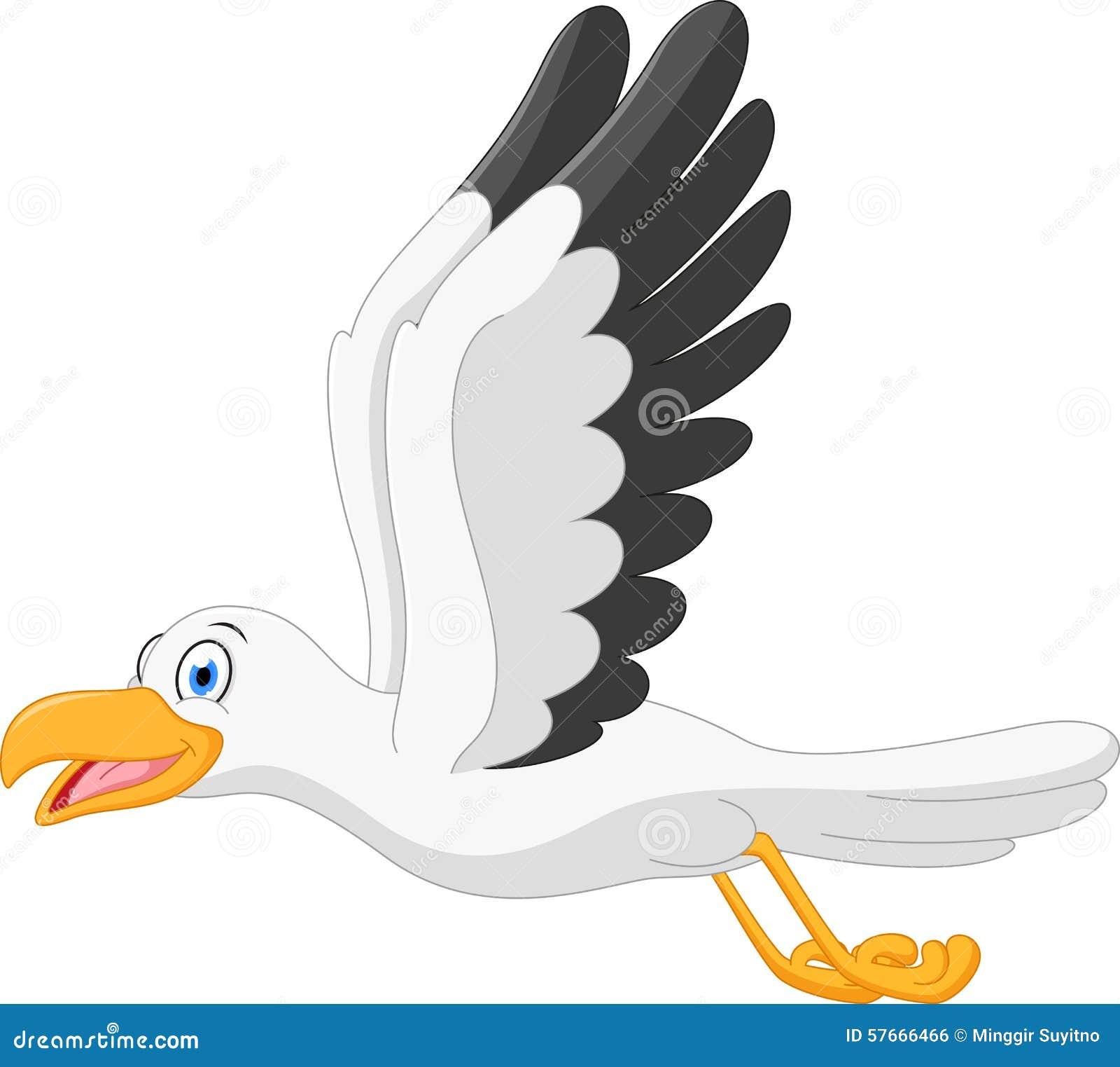 Szczęśliwy seagull kreskówki latanie