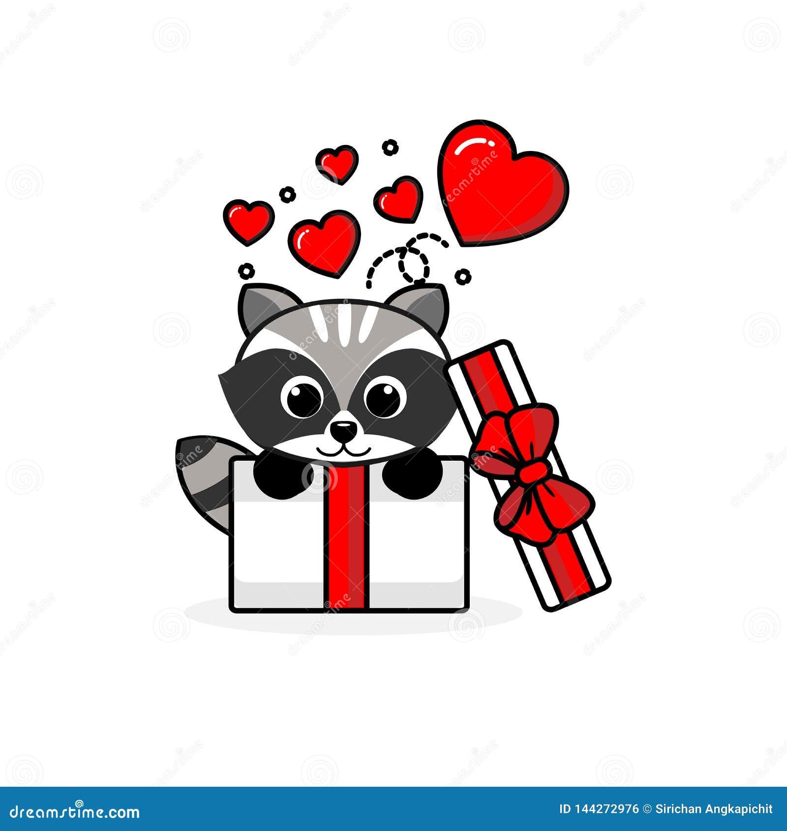Szczęśliwy szop pracz wśrodku otwartego prezenta pudełka z komarnic sercami r?wnie? zwr?ci? corel ilustracji wektora