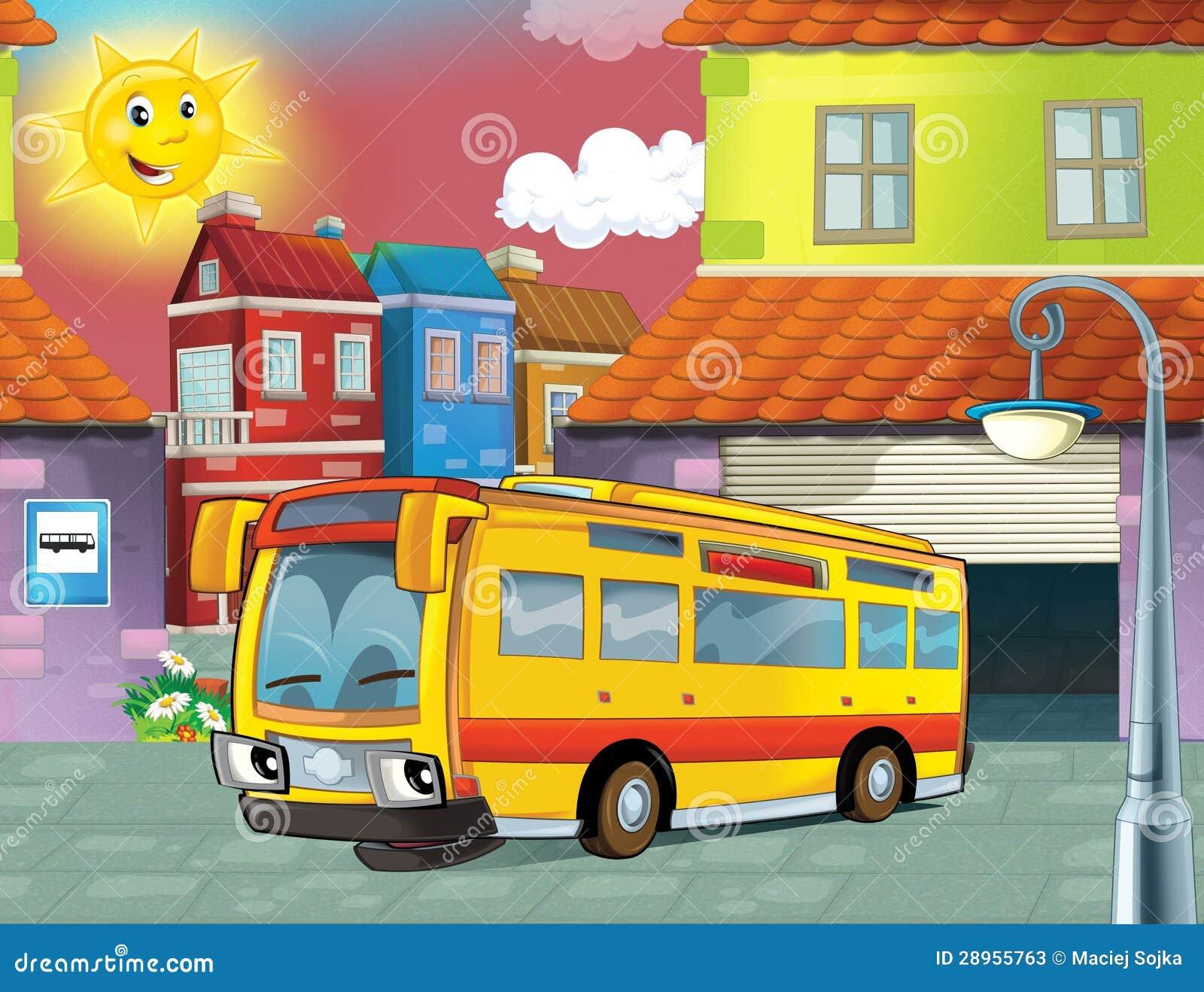 Szczęśliwy twarz autobus w mieście