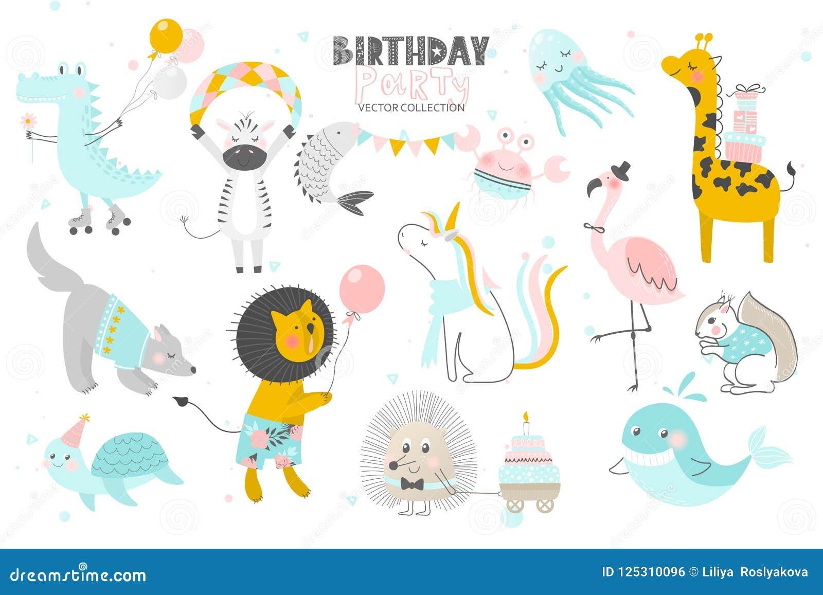 Szczęśliwy urodziny Śliczna ręka rysujący zwierzę styl Wektorowa kolekcja