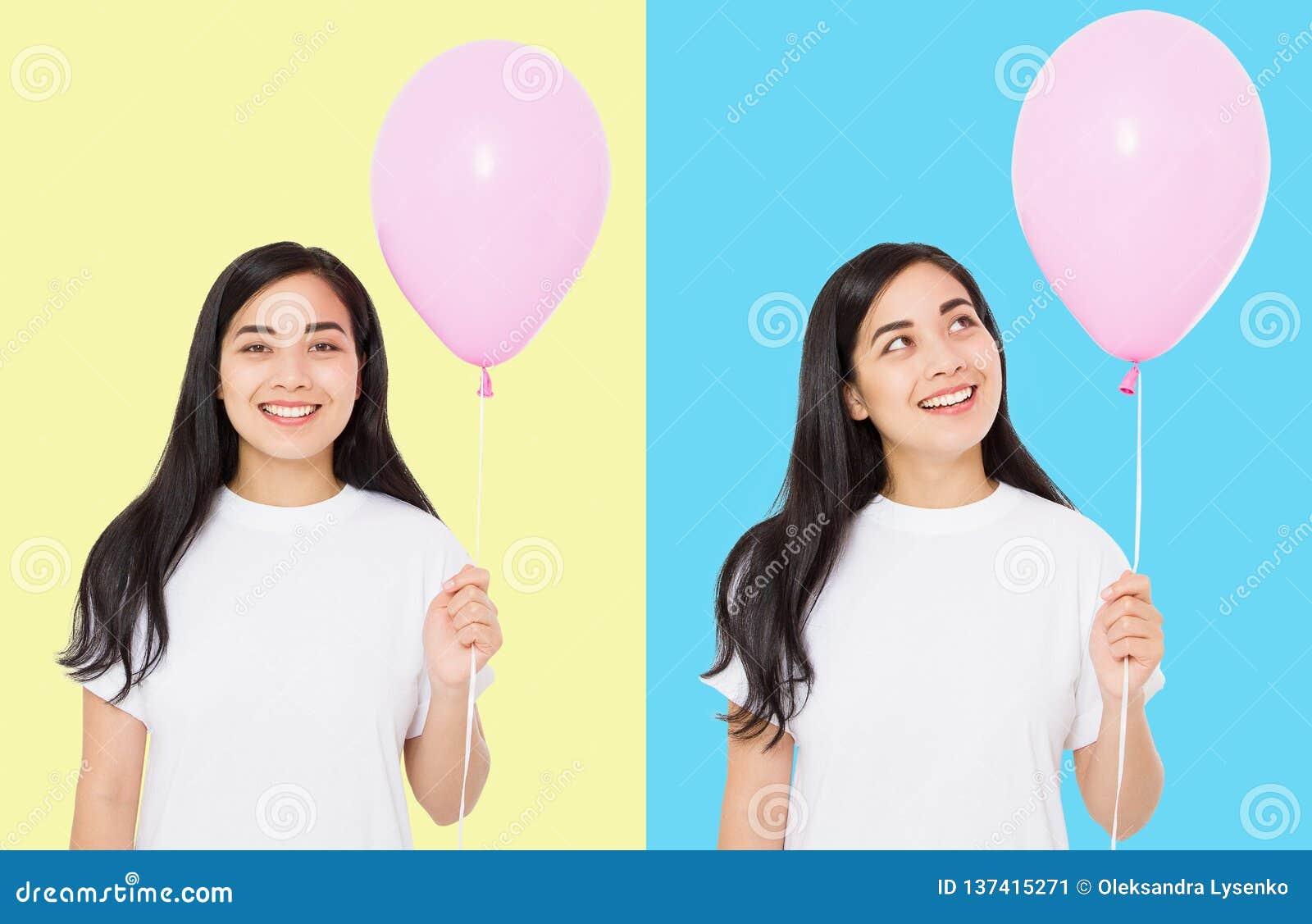 Szczęśliwy urodziny Balonowy partyjny kolaż Szczęśliwa azjatykcia dziewczyna z balonami odizolowywającymi na białym kolorowym tle